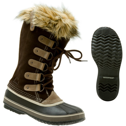 The Sorel Women's Joan of Arctic Boot's seam-sealed suede upper protects your feet from the elements this winter while the faux fur cuff gives a hint of style. Waterproof rubber outsoles offer excellent traction with their square lug pattern, so you can keep your footing on the ice. Recycled felt InnerBoot and bonded felt frost plug insulate your foot when the temps drop to freezing. The Joan boot uses regular lacing through buckles for a sleek look that offers support from you ankle to your calf. - $76.97
