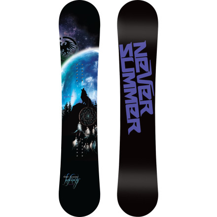 Snowboard The Infinity Snowboard utilizes the same tasty platter of technology as Never Summer's best-selling SLbut with a width, shape, and flex pattern specifically tuned to the needs of female freestyle riders. Thanks to the Rocker Camber hybrid profile and Vario Grip sidecut, the Infinity holds a great edge at speed, while still maintaining a floaty, forgiving feel that inspires confidence everywhere from park jumps to pillow lines. - $367.99
