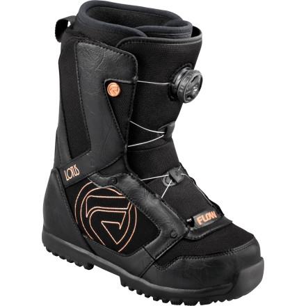 Snowboard Nothing can ruin a day of riding quicker than a snowboard boot that doesn't fit correctly. With a soft, forgiving flex and the BOA H3 Coiler lacing system, the Flow Lotus BOA snowboard Boot is all about comfort and the perfect fit. - $107.99