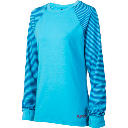 Fitness The Burton Women's Player Shirt looks like a stylish, casual pullover, but it's actually much more. The Player was designed for riding. Burton used 360-degree stretch DryRide UltraWick fabric to give you a full range of motion with no binding and to pull moisture away from your skin to keep you dry and comfortable. Then it gave the Player an antimicrobial finish to make sure you don't stink, no matter how hard you ride. - $37.46