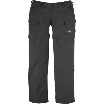 Camp and Hike The North Face Paramount Valley Convertible Women's Pant can never decide what it wants good thing it never has to. With options to zip off and roll-up, the Paramount can be a capri, shorts, or a long pant. Water-resistant UPF 30 fabric provides lightweight comfort, and with two front pockets, cargo pockets, and hook-and-loop-closure back pockets, this pant carries all you need for a day in the mountains or running around town. - $37.48