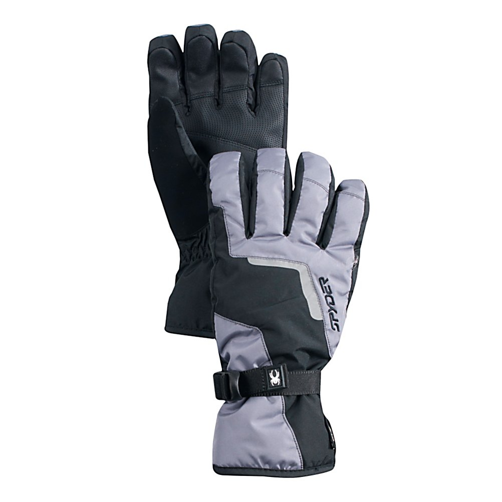Ski Spyder Traverse Gore-Tex Gloves - The Spyder Traverse Gore-Tex Ski Gloves are warm and comfortable and will definitely keep your hands feeling good when you're out on the mountain. Made with Gore-Tex, this technology ensures the best in waterproofness, breathability and windproof. They are guaranteed to keep your hands dry no matter how much you're sweating out there. To help keep those hands toasty on the coldest of days is ThermaWeb Insulation which traps the heat inside the gloves. You'll have relaxed hands because these gloves offer a pre-curved articulated fit and secure fit with the adjustable wrist straps. Colds hands are not fun but skiing is so next time you head up to the mountain make sure you're wearing the Spyder Traverse Gore-Tex Ski Gloves. Features: Durable Synthetic Palm, ThermaWeb Insulation. Removable Liner: No, Material: Mini Oxford Weave with Xt Coating and Spylon+ DWR, Warranty: Lifetime, Battery Heated: No, Race: No, Type: Glove, Use: Ski/Snowboard, Wristguards: No, Outer Material: Nylon, Waterproof: Yes, Breathable: Yes, Pipe Glove: No, Cuff Style: Over the cuff, Down Filled: No, Touch Screen Capable: No, Model Year: 2013, Product ID: 288263 - $65.00