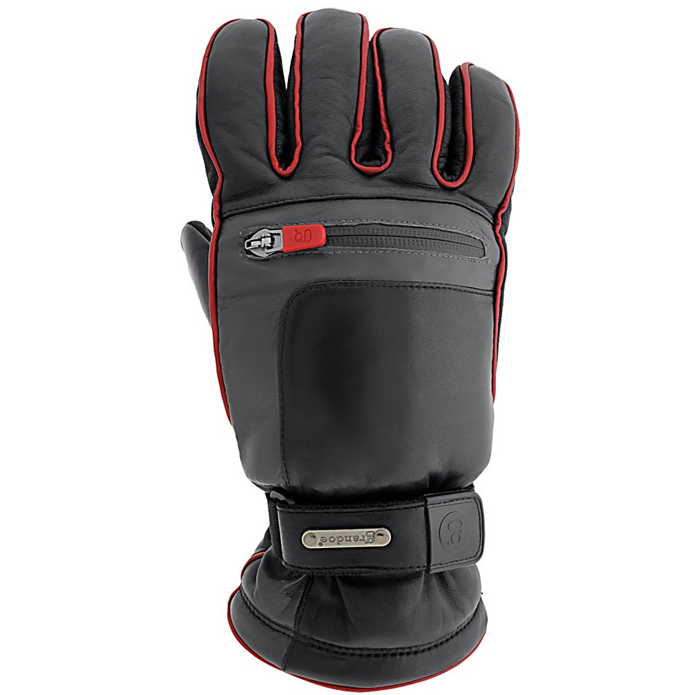 Ski Grandoe Myth Gloves - Myth, a beautifully constructed WaterBlock Sheepskin glove features piping detail and a waxed waterproof zipper pocket. Maximum style with maximum warmth. WaterBlock Sheepskin shell is going to keep your hands dry by locking out the water. The Guaranteed Endurance Leather provides superb grip as well as live up to its namesake. Dri-Gard Waterproof/Breathable insert keeps fights off the water while allowing your sweat to escape. The result is a warmer, dryer pair of hands. The Grandoe Myth features a stash/heater pocket for your mini-goodies or extra cold days. This Grandoe might be the Myth, but there's no refuting the truth behind the tech. . Removable Liner: No, Material: WaterBlock Sheepskin, Warranty: One Year, Battery Heated: No, Race: No, Type: Glove, Use: Ski/Snowboard, Wristguards: No, Glove Outer Fabric: Leather/Synthetic, Waterproof: Yes, Breathable: Yes, Pipe Glove: No, Cuff Style: Over the cuff, Down Filled: No, Touch Screen Capable: No, Glove Quality: Better, Glove Weather Condition: Average, Glove/Mitten Insulation: Synthetic, Model Year: 2014, Product ID: 289909, Model Number: SM3594-98010970, GTIN: 0721769002714 - $94.95