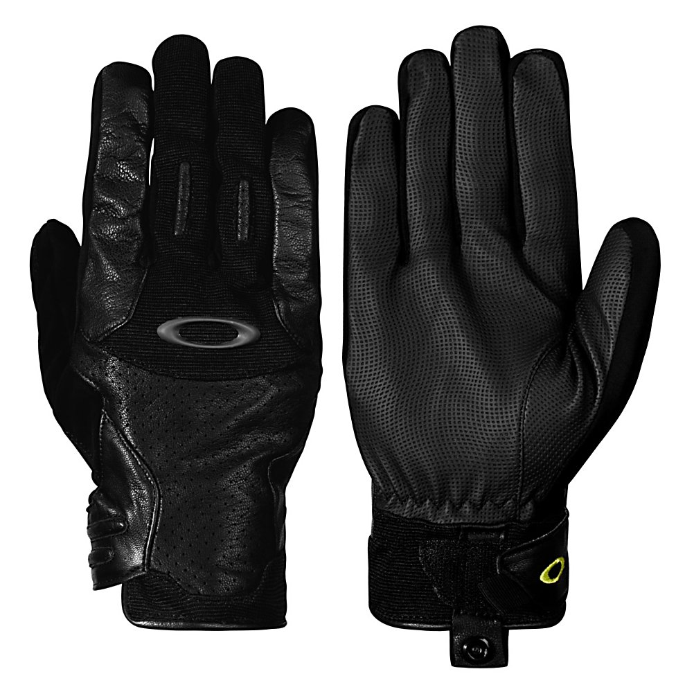 Ski Oakley Revert Spring Ski Gloves - Moving forward with the latest technology, innovation and style is what Oakley has designed in this pair of Revert Spring Ski Gloves that are water resistant and made of a leather topside that is ideal for skiers or boarders on the go. This stylish, eye catching design has specifically been designed for men. Engineered with the protection of water resistant leather in critical areas to provide you with the waterproof protection and the dexterity for all of your winter sporting needs. The articulated padded knuckles provide durability while also offering added protection as you conquer the mountain. Other features include a flocked PU nose wipe featured on the thumb, the hook and loop cuff closure and adjustment for a custom fit and the glove keeper snaps that double as pull tabs to keep the un-wanted snow from entering. This pair of Oakley Revert Spring Gloves has the style, protection, durability and dexterity all wrapped up into one that will keep your hands warm no matter what mother nature throws your way all winter long. . Removable Liner: No, Material: Perforated Leather Chassis, Warranty: One Year, Battery Heated: No, Race: No, Type: Glove, Use: Ski/Snowboard, Wristguards: No, Outer Material: Leather, Breathable: Yes, Pipe Glove: No, Cuff Style: Under the cuff, Down Filled: No, Model Year: 2013, Product ID: 291811 - $54.99
