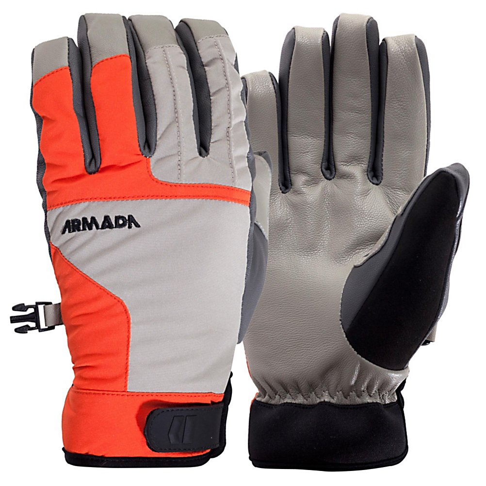 Ski Armada Ascent Gloves - Got your gear, got your jacket and pants, but no gloves? No need to keep searching when you have found a great glove like the Ascent by Armada. The MegaGoat leather that this glove is made of gives you a durable and water resistant glove that looks and feels great on your hands. The Polyester stretch woven softshell fabric that is also on the back of the glove has 10,000mm rating plus a DWR finish so your hands will stay dry. If you are worried about them getting cold, no need to fear! There is 70 grams of Thinsulate insulation to keep your fingers toasty warm. Lazy Fingers construction makes sure you get the best fit and dexterity available with the pre-curved fingers on these gloves. The microfleece liner on the inside gives you comfort on the inside to match the comfort that the outside of the glove has. The Armada Ascent glove is the perfect glove for any day on the slopes or in town. . Removable Liner: No, Material: MegaGoat Leather and Polyester Stretch Woven 10,000mm Plus DWR, Warranty: Other, Battery Heated: No, Race: No, Type: Glove, Use: Ski/Snowboard, Wristguards: No, Outer Material: Leather, Waterproof: Yes, Breathable: Yes, Pipe Glove: No, Cuff Style: Under the cuff, Down Filled: No, Touch Screen Capable: No, Model Year: 2013, Product ID: 292769 - $59.95