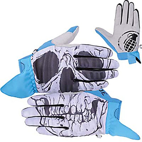 Snowboard Grenade Skull Gloves - The Grenade Skull Glove brings a whole new meaning to the word skull. Interactive top of the hand graphics create a skull, to impressive fellow riders. Latter stretch body conforms to the riders hands creating a perfect fit. Performance neoprene knuckles provide excellent comfort while the wicking treatment wicks away moisture from inside the glove. Lorics Suede Palm is going to be durable and long lasting. Classic pipe glove fit with silicone printed palm graphic give the Skull glove a unique style and look to it. Perfect for endless park laps and urban rail setting. The Skull Glove is going to make faces turn and jaws drop. . Removable Liner: No, Material: Latter stretch body, Warranty: One Year, Battery Heated: No, Race: No, Type: Glove, Use: Ski/Snowboard, Wristguards: No, Outer Material: Nylon, Waterproof: Yes, Breathable: Yes, Pipe Glove: Yes, Cuff Style: Under the cuff, Down Filled: No, Touch Screen Capable: No, Model Year: 2013, Product ID: 291949 - $49.99