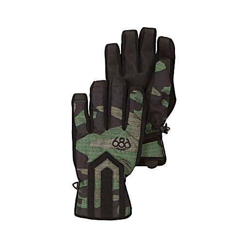 Snowboard 686 Tundra Insulated Gloves - The 686 Tundra Insulated Glove has a discrete camouflage print that will blend with any snowboard garb you are wearing. The knuckle and palm fiberfill insulation and waterproof liner will keep you warm, dry and protected. The pre-curved full finger grip and sand grip anti-slip palm reinforcement allows you to grip and hold at your command. The Velcro adjustable cuff tab with partially elasticized neoprene wrist forms to your hand in a personal way giving you a fit of comfort and individual shape. . Removable Liner: No, Material: Poly oxford, Warranty: Other, Battery Heated: No, Race: No, Type: Glove, Use: Ski/Snowboard, Wristguards: No, Outer Material: Softshell, Waterproof: Yes, Breathable: Yes, Pipe Glove: No, Cuff Style: Under the cuff, Down Filled: No, Touch Screen Capable: No, Model Year: 2013, Product ID: 292322, Model Number: L2WGLV11 ARMY M, GTIN: 0883510204317 - $50.00