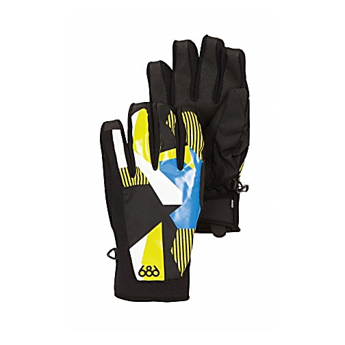 Snowboard 686 Mix Pipe Gloves - The 686 Mix Pipe Glove maximizes in extreme design with a custom screen printed shell fabric that sets you apart from the rest. The foam padding offers great comfort and the Velcro adjustable cuff tab allows for a perfect fit - keeping the cold air out. Having a pre-curved full finger grip and sand grip anti-slip palm reinforcement - you can grip and grab at your convenience. The fit, look and protection of The Mix Pipe Glove take on an individual appeal - balancing all your needs and wants. . Model Year: 2013, Product ID: 292331, Touch Screen Capable: No, Down Filled: No, Cuff Style: Under the cuff, Pipe Glove: Yes, Breathable: Yes, Waterproof: Yes, Outer Material: Softshell, Wristguards: No, Use: Ski/Snowboard, Type: Glove, Race: No, Battery Heated: No, Warranty: Other, Material: Nylon Oxford, Removable Liner: No - $40.00