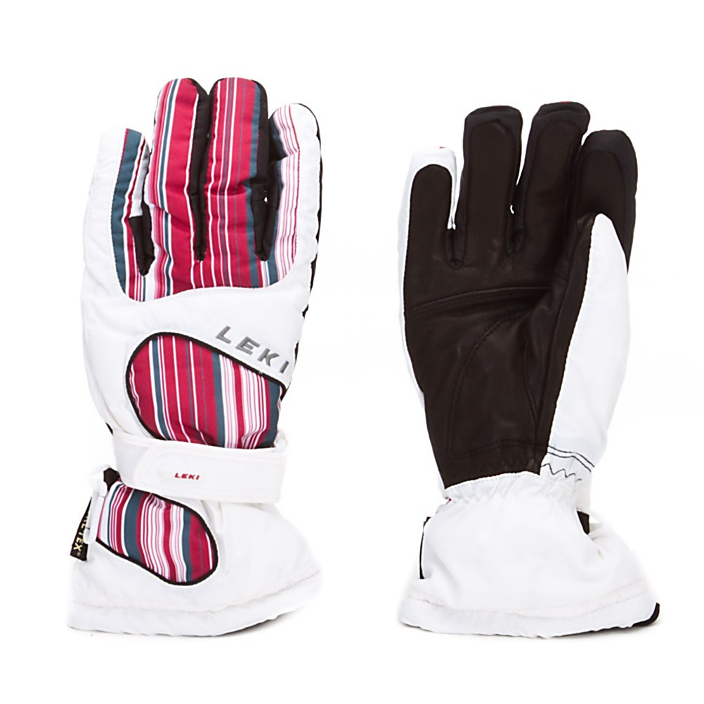 Ski Leki Stripes Womens Gloves - The Leki Stripes Womens Ski Gloves are super comfy and warm and will keep your hands feeling good all day long on the mountain. Made sturdy materials such as NY Tilon, Poly Sotina and Hydrophobic Goatskin you'll have a dependable, durable and reliable pair of gloves on your hand. These gloves were also made using Gore-Tex Technology to ensure that your hands remain warm and dry. They are also waterproof to prevent any wintry elements from seeping in and breathable. Made with a women's-specific design, the Leki Stripes Womens Ski Gloves will not only look good but they will feel good too. . Removable Liner: No, Material: NY Tilon and Poly Sotina, Warranty: One Year, Battery Heated: No, Race: No, Type: Glove, Use: Ski/Snowboard, Wristguards: No, Outer Material: Nylon, Waterproof: Yes, Breathable: Yes, Pipe Glove: No, Cuff Style: Over the cuff, Down Filled: No, Touch Screen Capable: No, Model Year: 2012, Product ID: 266467 - $49.94