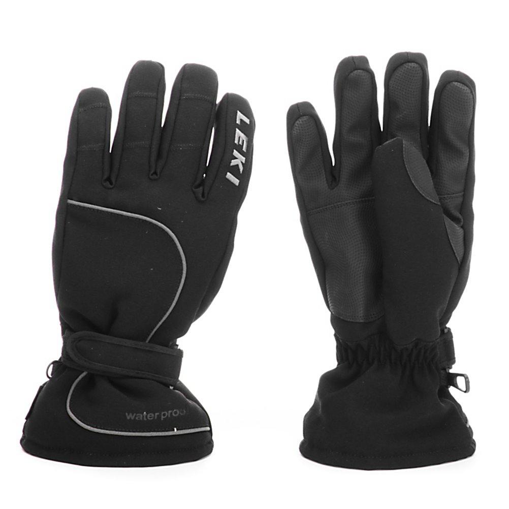 Ski Leki Proof Womens Gloves - The Leki Proof Womens Ski Gloves boast a ton of features to ensure that your hands stay warm and cozy all day long. The Softfill/Tricot Insulation helps retain heat so your fingers don't get cold and the J-Max Wicking Lining pushes the sweat and moisture out of the glove so your hands don't get all icky and cold. A Predex Waterproof insert combats any wintry weather that tries to penetrate the glove. Digital PU Palm, Fingers and Thumb Reinforcements are designed not only for great durability but will also make it easier to hang on to the pole during the roughest of rides down the mountain. Stylish, warm and comfy, the Leki Proof Womens Ski Gloves are a great pair of gloves at an unbeatable price. . Removable Liner: No, Material: NY Spandura Body and PU Palm and Fingers, Warranty: One Year, Battery Heated: No, Race: No, Type: Glove, Use: Ski/Snowboard, Wristguards: No, Outer Material: Softshell, Waterproof: Yes, Breathable: Yes, Pipe Glove: No, Cuff Style: Over the cuff, Down Filled: No, Touch Screen Capable: No, Model Year: 2012, Product ID: 266475 - $29.95