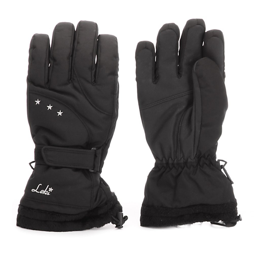 Ski Leki Sense GX Womens Gloves - The Leki Sense GX Ski Gloves are super comfy and cozy without sacrificing style. Designed with a waterproof and breathable Softshell body as well as a Synch Pull Gauntlet, your hands won't be bothered by the wintry conditions seeping in. You'll have a comfortable fit that keeps the snow and moisture at bay. Fiberfill/Polarfleece Insulation helps keep the warmth inside and the Silk Bemberg Wicking Liner wicks away the sweat and moisture that can accumulate inside the glove. This means that your hands will remain warm and dry all day long. The Faux Fur Cuff adds a little luxury to the style and coziness when placing your hands inside the already soft and warm gloves. The Leki Sense GX Ski Gloves are perfect for the cold days on the slopes when you want to concentrate more on the fun and less on the cold hands. . Removable Liner: No, Material: NY Rino/Rip Body and PU Palm and Fingers, Warranty: One Year, Battery Heated: No, Race: No, Type: Glove, Use: Ski/Snowboard, Wristguards: No, Outer Material: Softshell, Waterproof: Yes, Breathable: Yes, Pipe Glove: No, Cuff Style: Over the cuff, Down Filled: No, Touch Screen Capable: No, Model Year: 2012, Product ID: 266493 - $34.90