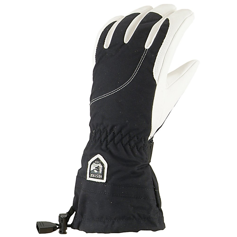 Ski Hestra Heli Womens Gloves - The Hestra Heli Glove is a waterproof, windproof and unbreakable glove - perfect for those chilly days on the mountain when the winds are a-howlin' and the snows are a-fallin'. Made from the finest materials such as Army Impregnated Goat Leather, which is thoroughly waterproofed and extremely durable, these gloves will keep your hands dry and warm on the frigid mid-winter days. Keeping your hands warm is a soft and cozy Bemberg/Polyester lining. If your hands are warming up or you want to dry out the glove at the end of the day, the lining is removable. The Snow Lock wrist closure keeps the snow out while trapping the heat in. The Hestra Heli Gloves have pre-curved finger construction called Eagle Grip that will keep your palms relaxed and provide an easier hold onto the base of the board or the ski poles. Even in the worst situations and the roughest spots on the mountains keep your hands warm, dry and super-comfy with the Hestra Heli Glove. Features: Hestra Handcuffs. Removable Liner: Yes, Material: Impregnated Army Goat Leather, Warranty: Lifetime, Battery Heated: No, Race: No, Type: Glove, Use: Ski/Snowboard, Wristguards: No, Glove Outer Fabric: Leather/Synthetic, Waterproof: Yes, Breathable: Yes, Pipe Glove: No, Cuff Style: Over the cuff, Down Filled: No, Touch Screen Capable: No, Glove Quality: Best, Glove Weather Condition: Frigid, Glove/Mitten Insulation: Synthetic, Model Year: 2014, Product ID: 269867, Model Number: 3061-1002-06, GTIN: 7332540077680 - $120.00