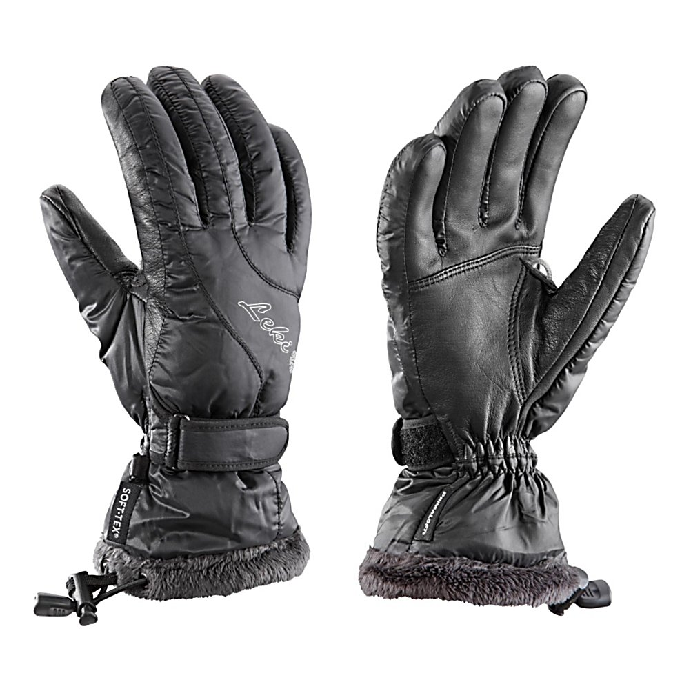 Ski The Leki Black Feather S Womens Ski Gloves are more than just a regular glove to wear skiing, they are designed to keep your hands super comfy and cozy, dry and warm. Its Sheepskin Palm helps protect your hand from the wintry elements and will also ensure a solid pole grip and swing. The Micro Bemberg Lining is great for wicking moisture and sweat away from your hands and out of the glove so you can remain dry and warm. These Black Feather S Gloves have Primaloft Insulation so the warmth inside the glove stays there even in the frigid winter temperatures. If you want style and performance, a women's specific cut and, most importantly, warm hands, then you'll fall in love with the Leki Black Feather S Ski Gloves.  NY Feather on back of hand,  Sheepskin Palm,  Micro Bemberg Primaloft Lining,  Primaloft Insulation,  Model Year: 2016, GTIN: 4028173038015, Model Number: 631 87102 075, Product ID: 279017, Glove/Mitten Insulation: Synthetic, Glove Weather Condition: Average, Glove Quality: Better, Touch Screen Capable: No, Down Filled: No, Cuff Style: Over the cuff, Pipe Glove: No, Breathable: Yes, Waterproof: Yes, Glove Outer Fabric: Softshell, Wristguards: No, Use: Ski/Snowboard, Type: Glove, Race: No, Battery Heated: No, Warranty: One Year, Material: Sheepskin/NY Feather, Removable Liner: No - $94.93