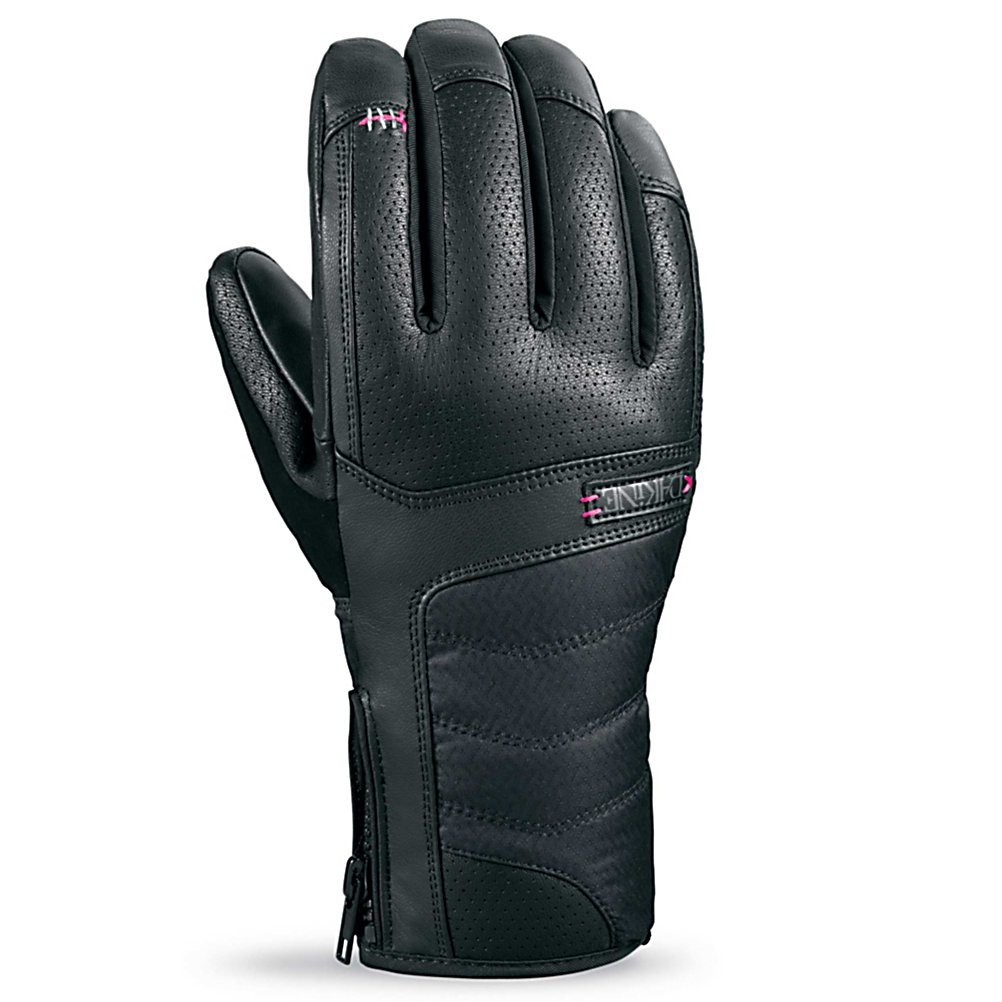 Ski Dakine Targa Womens Gloves - Dakine has created this Targa pair of Gloves with a specific women design, this means that the precurved finger construction has been achieved by shaping the palm pattern to fit the hand in the relaxed position. Performance articulation has resulted in an optimal fit, fabulous dexterity and superior blood flow to your fingers, leading to warmer fingers and hands. The Gore-Tex insert will keep out the water and moisture that is trying to make their way inside, this insert allows moisture from your body to escape, leaving you feeling comfortable and dry throughout the day. The fixed mid weight fleece liner will provide you with superior dexterity and comfort due to the minimal bulk inside this pair of Targa Gloves. This mid weight fleece has 230 Grams of insulation to provide additional warmth and protection, all the while remaining stylish and durable. . Removable Liner: No, Material: Durable water repellent leather, Warranty: One Year, Battery Heated: No, Race: No, Type: Glove, Use: Ski/Snowboard, Wristguards: No, Outer Material: Leather, Waterproof: Yes, Breathable: Yes, Pipe Glove: No, Cuff Style: Under the cuff, Down Filled: No, Touch Screen Capable: No, Model Year: 2013, Product ID: 283079 - $49.91