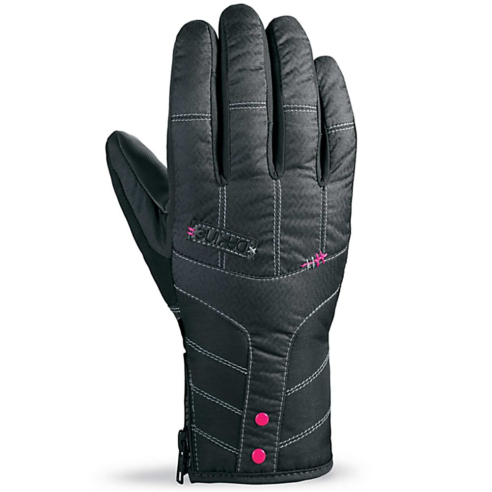 Ski Dakine Sienna Womens Gloves - When you wear the Dakine Sienna Ski Gloves you'll know you have a high-quality glove that is built to last some of the harshest conditions on the mountain. Its Waterproof Inserts ensures high waterproof rating and breathability. This insert also prevents moisture from seeping in and even removing the moisture from inside to help keep your hands as dry and comfortable as possible. The high loft insulation resists moisture in wet conditions and helps hold the heat inside so that your fingers and palm remains toasty warm. You'll have a Rubbertec Palm to ensure a solid grip on poles or the board and One Hand Cinch Gauntlet to make tightening up the gloves a breeze. Check out the styles of the Dakine Sienna Ski Gloves and look good and feel comfy the next time you head out to the slopes. . Removable Liner: No, Material: Nylon with DWR treatment, Warranty: One Year, Battery Heated: No, Race: No, Type: Glove, Use: Ski/Snowboard, Wristguards: No, Outer Material: Nylon, Waterproof: Yes, Breathable: Yes, Pipe Glove: No, Cuff Style: Under the cuff, Down Filled: No, Touch Screen Capable: No, Model Year: 2013, Product ID: 283091 - $40.00