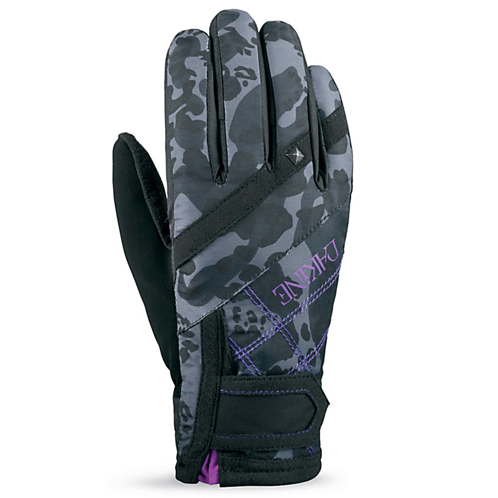 Ski Dakine Womens Electra Womens Ski Gloves - The type of glove you use when skiing or boarding is dependent on the conditions. At the beginning or end of the season when the weather is nicer, the sun peaks its head out from the clouds more often, and the temperatures flirt above freezing, an excellent choice is the Dakine Electra Gloves. Lined with 150g Tricot the glove is ultimate in dexterity and moisture management. The palms are made of Synthetic Suede which has a soft dexterous feel combined with outstanding abrasion resistance and a Silicone Grip to keep a firm grip on ski poles or the base of the board. The shell of the glove, Weathershield Nylon, is a high-stretch fabric for added comfort and a smooth range of motion. It's treated with durable water repellent and weatherproofing for when that snow falls wet and heavy or if you accidentally take a tumble. An adjustable hook and loop cuff closure helps keep the wet snow out and a nose wipe on the thumb panels is great for the cool long days on the slopes. The Dakine Electra Gloves are the premium choice for shredding the mountain in warm weather conditions. . Material: Nylon with DWR treatment, Warranty: One Year, Battery Heated: No, Model Year: 2013, Product ID: 283097, Down Filled: No, Cuff Style: Under the cuff, Pipe Glove: Yes, Breathable: Yes, Waterproof: No, Outer Material: Nylon, Wristguards: No, Use: Ski/Snowboard, Type: Glove, Race: No, Removable Liner: No - $35.00