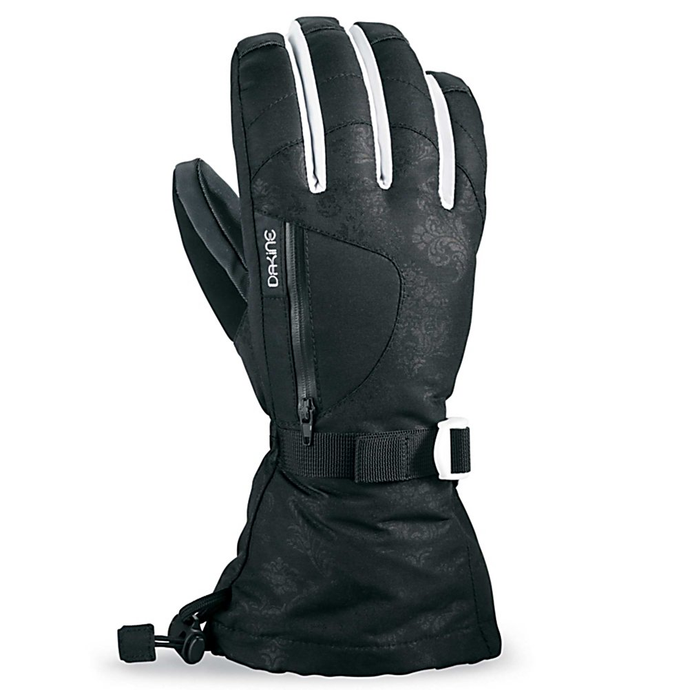 Ski Dakine Sequoia Womens Gloves - The Dakine Sequoia Gloves pack a ton of features into a comfortable glove so you can stay comfy and cozy when you're outside in the winter weather. Cold hands no more! Outfitted with a Gore Tex Insert you'll have the very best in waterproofing and moisture controlling insert out there. Combined with high loft insulation and your hands will stay warm and dry all day. Also included is a removable 4x4 stretch fleece liner. The insulation resists moisture while retaining heat. If you're battling the most frigid of temperatures then toss in a glove warmer in the internal heat pack pocket for extra warmth. Included is chamois goggle wipe to ensure your view stays clear and a nose wipe thumb panel to help against any runny noses. The Dakine Sequoia Gloves also offer an external zippered stash pocket so you have a space to hide the most necessary item. . Removable Liner: Yes, Material: Nylon / Poly with DWR treatment, Warranty: One Year, Battery Heated: No, Race: No, Type: Glove, Use: Ski/Snowboard, Wristguards: No, Outer Material: Nylon, Waterproof: Yes, Breathable: Yes, Cuff Style: Over the cuff, Down Filled: No, Touch Screen Capable: No, Model Year: 2013, Product ID: 283104 - $65.00