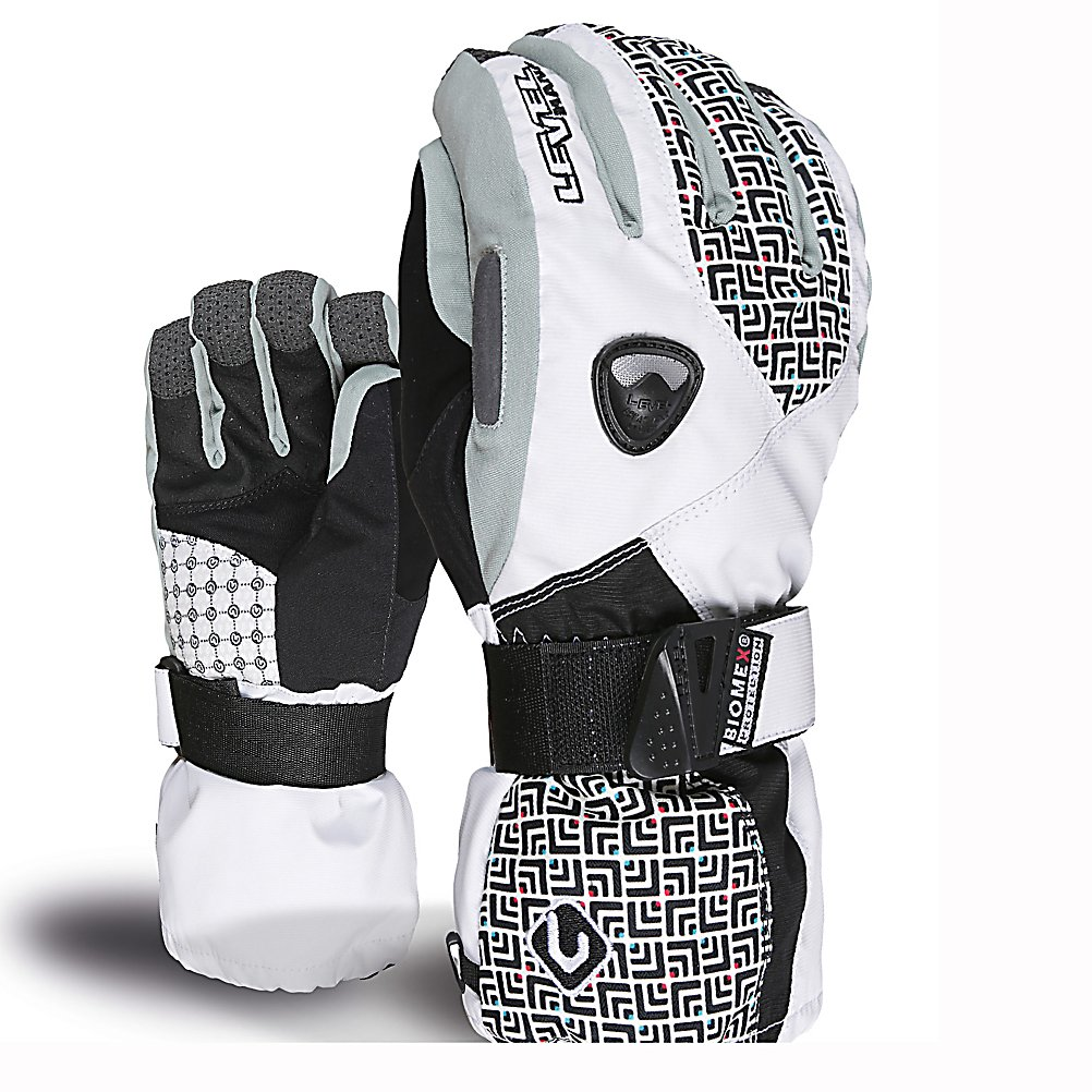 Ski Level Butterfly Womens Ski Gloves - The Level Butterfly Snowboard Glove for Women offers high quality protection at reasonable price range for any beginner or expert. With Biomex protection, Wrist guard that keeps the wrist in an anatomically strong position. Muscle-forces and bone congruency combine to provide optimum stability without compromising the freedom to move your hand around. The risk of injury to the wrist or reinjure to your wrist is greatly reduced. Fleece insulation keeps your hands toasty all day on the slopes. Water resistant membrane with a removable lining allows for multiple uses for this glove. Kevlar-reinforced palms and finger tips for sure grip and toughness for all the days on the hill. The Level Butterfly glove is a all-in-one performance machine for women looking to protect there hands and fun at the same time. . Warranty: One Year, Battery Heated: No, Model Year: 2013, Product ID: 290936, Down Filled: No, Cuff Style: Over the cuff, Pipe Glove: No, Breathable: Yes, Waterproof: No, Outer Material: Nylon, Wristguards: Yes, Use: Ski/Snowboard, Type: Glove, Race: No, Material: Fleece Insulation, Removable Liner: Yes - $100.00