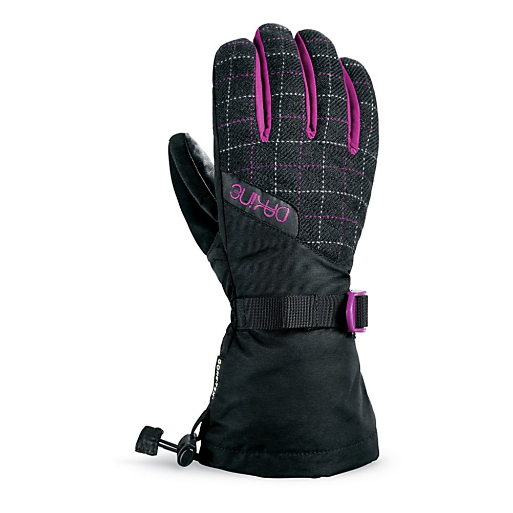 Snowboard Dakine Catalina Womens Gloves - Highest combined levels of waterproofing, breathability, durability and softness all wrapped up into this one Catalina pair of gloves by Dakine. This long lasting pair of Catalina Ski Gloves go through a unique tanning process that infuses the leather with a waterproofing agent and compound dye that makes them extremely comfortable and very durable. The thermoloft insulation is synthetic that has an excellent balance of warmth and value for you all season long. The shell fabric is a weather shield technology that treats the surface of the shell with a DWR (Durable Water Repellent) finish that acts as a barrier to any type of moisture. This weather shield keeps perspiration and perspiration from penetrating inward keeping your hands dry and warm all day long. A fine choice for a superior climate control system at your fingertips. Features: Nose and goggle wipe thumb panels, Internal heat pack pocket. Removable Liner: No, Material: Weathershield Nylon, Warranty: One Year, Battery Heated: No, Race: No, Type: Glove, Use: Ski/Snowboard, Wristguards: No, Outer Material: Nylon, Waterproof: Yes, Breathable: Yes, Pipe Glove: No, Cuff Style: Over the cuff, Down Filled: No, Touch Screen Capable: No, Model Year: 2012, Product ID: 244619 - $59.95