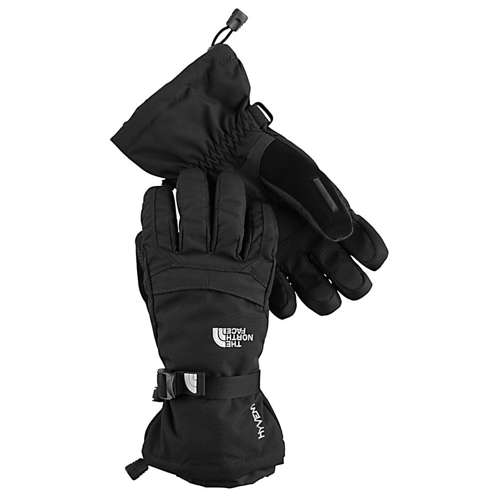 Ski The North Face Montana Kids Gloves - Spending all day outdoors will no longer be an issue while wearing this pair of North Face Montana Junior Ski Gloves. Designed just for boys who are not afraid to tackle harder runs and Moguls to keep up with the big guys. The youth-specific 5 dimensional fit uses five measurements taken from a single index point at the heel of the hand, this pair of gloves has been built from the inside out to ensure a consistent size no matter what the use of the glove is intended for. The radiametric articulation technology uses a unique differential fabric pattern that produces built-in, natural articulation, mirroring the relaxed position of the hand while improving warmth and blood flow to your fingers. Another awesome feature is the storm door construction that integrates a gasket system into the cuff, this locks out any weather while providing a secure overlap with the sleeves of your jacket. No more snow where it is not wanted. This all-around pair of Montana Junior alpine gloves offers warmth, comfort and high performance each time that you take to the mountain. Features: Radiametric Articulation, Waterproof, Warm and Highly Breathable, Storm Door Cuff Gasket, Super Warm Fourchette-Box Finger Construction, Zippered Pocket on Back of Hand. Removable Liner: No, Material: HyVent, Warranty: Lifetime, Battery Heated: No, Race: No, Type: Glove, Use: Ski/Snowboard, Wristguards: No, Outer Material: Softshell, Waterproof: Yes, Breathable: Yes, Pipe Glove: No, Cuff Style: Over the cuff, Down - $50.00
