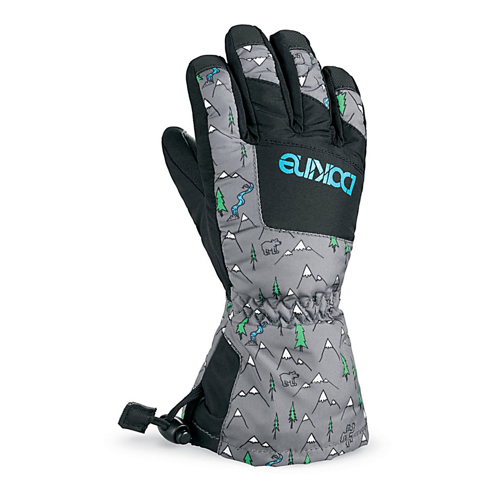 Ski Dakine Yukon Kids Ski Gloves - With a warmth index rating of 4, this pair of Yukon Junior Gloves from Dakine will keep your child's hands and fingers toasty warm throughout the day. Designed with 280g of synthetic thermoloft insulation that provides a really nice balance of comfort, warmth and durability while resisting moisture and retaining heat. There is a one hand cinch gauntlet cuff closure that is designed to keep out the un-wanted snow from getting in through the sleeves. The well designed weather shield nylon shell fabric has been treated with a durable water repellent (DWR) finish that acts as a barrier to moisture. The backside is also treated with another water resistant and breathable coating designed to regulate your child's climate control, by letting perspiration out while keeping moisture from penetrating inward. These coatings will keep the fingers and hands dry while providing the protection needed for all day skiing or boarding. If your child is a beginner the durathane palms are highly abrasion resistant and soft. This premium synthetic palm material has extreme durability, grip and waterproofing combined to hold up to the toll ropes and beyond. With the pre-curved finger construction the palm pattern has been designed to fit the hands in the relaxed position making it easy to grip your board, hold onto ski poles while also providing easy dexterity for your child to un-zip zippers, get into pockets easily all with comfort, style. performance and a great fit that allows for blood flow to - $24.95