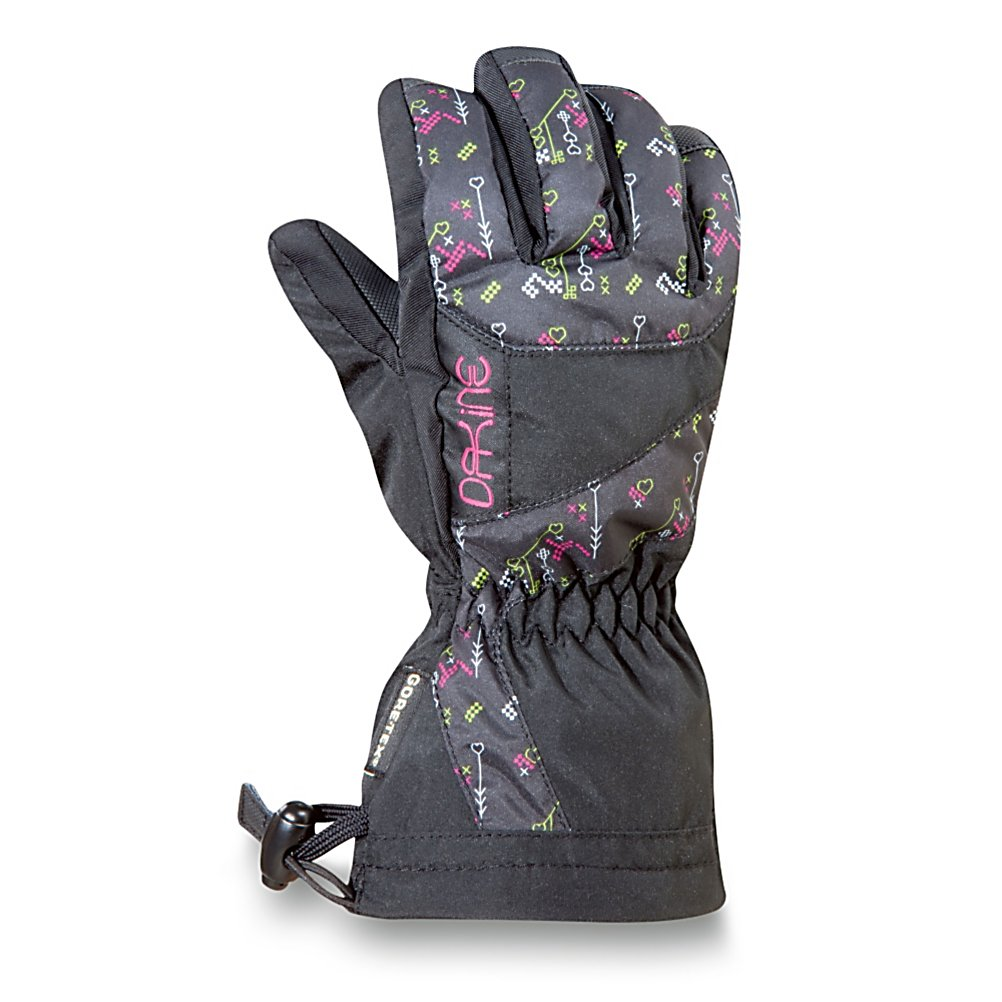 Ski Dakine Avenger Junior Ski Girls Ski Gloves - With a warmth index rating of 4, this pair of Avenger Junior Gloves from Dakine will keep your childs hands and fingers toasty warm throughout the day. Designed with 280g of synthetic thermoloft insulation that provides a really nice balance of comfort, warmth and durability while resisting moisture and retaining heat. This non-bulky insulation is highly breathable should the weather conditions change and warm up during your childs out in the powder. There is a one hand cinch gauntlet cuff closure that is designed to keep out the un-wanted snow from getting in through the sleeves. The well designed weather shield nylon shell fabric has been treated with a durable water repellent (DWR) finish that acts as a barrier to moisture. If your child is a beginner the durathane palms are highly abrasion resistant and soft. This premium synthetic palm material has extreme durability, grip and waterproofing combined to hold up to the toll ropes and beyond. With the pre-curved finger construction the palm pattern has been designed to fit the hands in the relaxed position making it easy to grip your board, hold onto ski poles while also providing easy dexterity for your child to un-zip zippers, get into pockets easily all with comfort, style. performance and a great fit that allows for blood flow to the fingers, leading to warmer hands each time that they are worn. . Removable Liner: No, Material: Weathershield Nylon, Warranty: One Year, Battery Heated: No, Race: No, Type: Glove, Use: Ski/ - $27.95