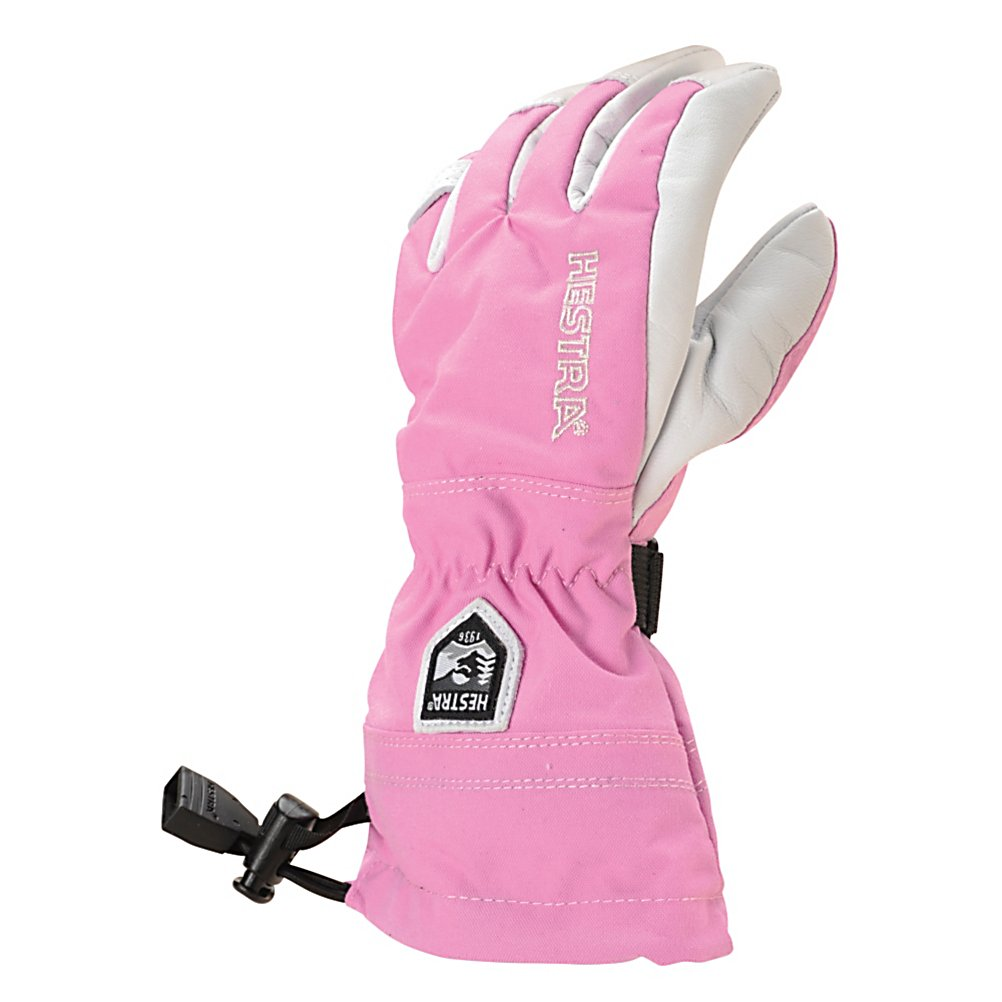 Ski Hestra Heli Girls Gloves - When the little ones are hitting the slopes you'll want their hands well protected from the cold and snow. With the Hestra Heli Junior Ski Gloves, their fingers will be warm and cozy. Included is a Bemberg/Polyester Insulation liner which has the option of being removed if their hands get too warm or at the end of the day for quicker drying. A Snow Lock helps keep the wintry mix on the outside of the glove and an Eagle Grip, pre-curved finger construction, for a relaxed and comfy feel. When your child wears a pair of the Hestra Heli Junior Ski Gloves they won't have the complaints of cold hands and the desire to go in and warm up. . Removable Liner: Yes, Material: Impregnated Army Goat Leather, Warranty: One Year, Battery Heated: No, Race: No, Type: Glove, Use: Ski/Snowboard, Wristguards: No, Outer Material: Leather, Waterproof: Yes, Breathable: Yes, Pipe Glove: No, Cuff Style: Over the cuff, Down Filled: No, Model Year: 2013, Product ID: 269910 - $90.00