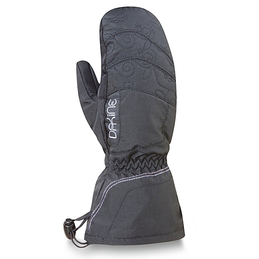 Ski Dakine Tracker Girls Ski Mittens - Keep your child's hands warm with the Dakine Tracker Girls Ski Mittens. The high loft insulation not only resists moisture but helps trap heat inside the mitten so that their fingers can remain cozy and warm throughout the day. To help keep their grips solid on ski poles, tow ropes and chairlifts, the palm has a synthetic palm reinforcement patch. A full length gauntlet can be worn either over or under the jacket sleeve to help keep the cold and snow out of the mitten. Warm, comfy and cozy, the Dakine Tracker Girls Ski Mittens are a great choice for the youngster heading out onto the slopes. . Removable Liner: No, Material: Nylon/Poly with DWR Treatment, Warranty: Lifetime, Battery Heated: No, Race: No, Type: Mitten, Use: Ski/Snowboard, Wristguards: No, Outer Material: Nylon, Waterproof: No, Breathable: Yes, Pipe Glove: No, Cuff Style: Under the cuff, Down Filled: No, Model Year: 2012, Product ID: 273481 - $19.95