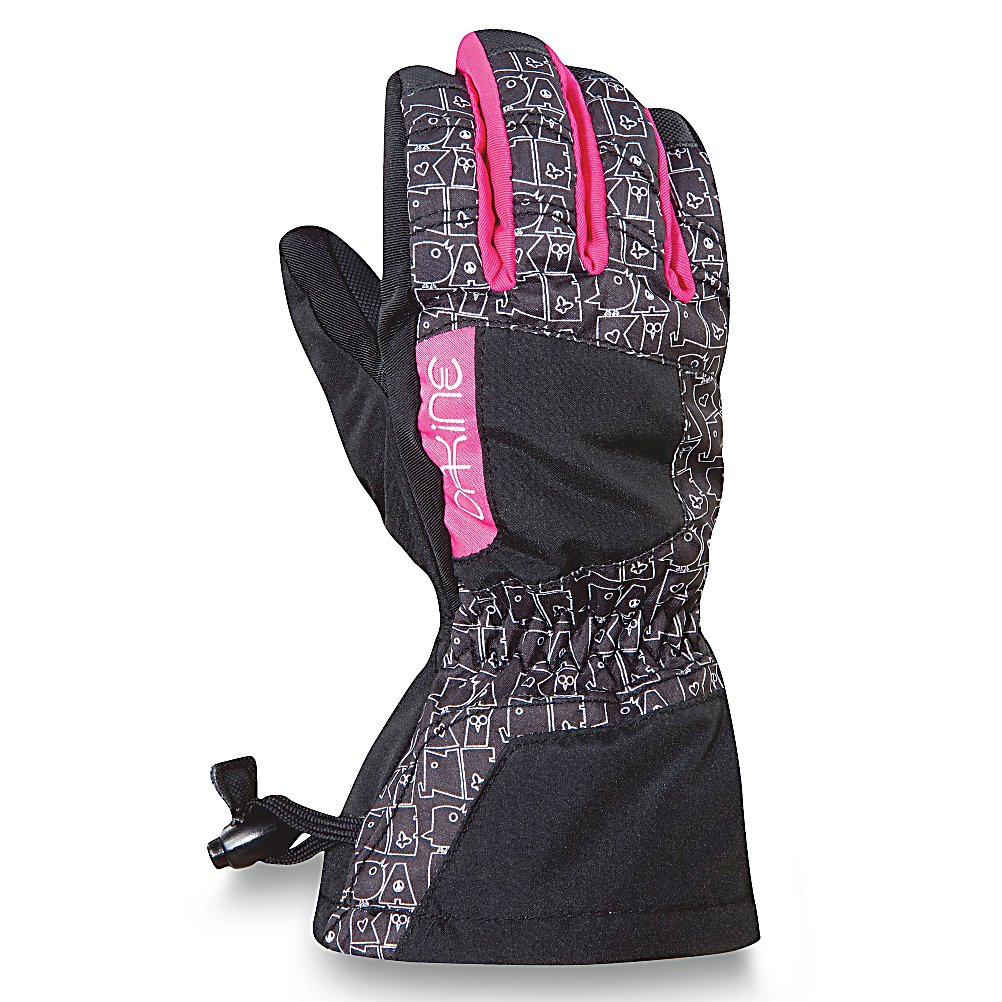 Ski Dakine Tracker Girls Ski Girls Ski Gloves - Keep your little girl's hands warm with the Dakine Tracker Girls Ski Gloves. It's designed with a waterproof, windproof Polyurethane insert to help keep their hands protected from the nasty wintry elements they may face on the mountain. The high loft insulation not only resists moisture but helps trap heat inside the gloves so that their fingers can remain cozy and warm throughout the day. To help keep their grips solid on ski poles, tow ropes and chairlifts, the palm has a high grip Polyurethane. When they close up the gloves with the one hand cinch gauntlet, the snow will stay on the outside while their inside retains its heat. Warm, comfy and cozy, the Dakine Tracker Girls Ski Gloves are a great choice for the little skier heading out onto the slopes. . Removable Liner: No, Material: Nylon/Poly with DWR Treatment, Race: No, Type: Glove, Use: Ski/Snowboard, Wristguards: No, Outer Material: Nylon, Waterproof: Yes, Breathable: Yes, Pipe Glove: No, Cuff Style: Over the cuff, Down Filled: No, Model Year: 2012, Product ID: 273535, Battery Heated: No, Warranty: Lifetime - $19.95