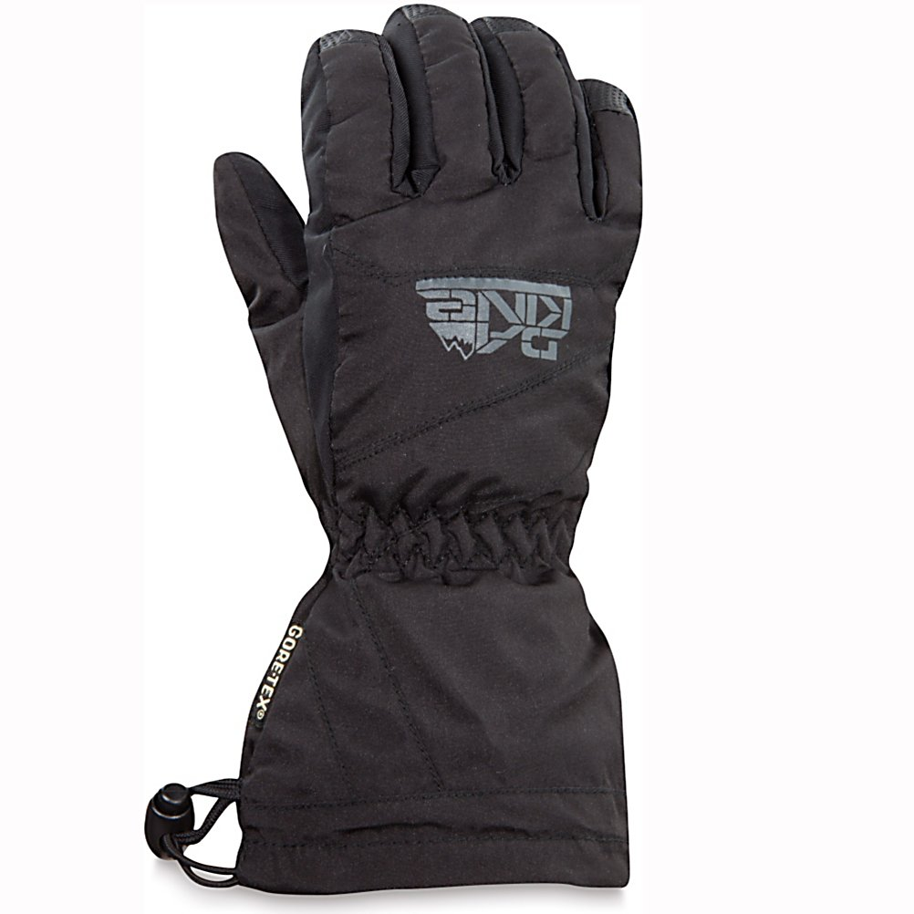Ski Dakine Avenger Kids Gloves - With a warmth index rating of 4, this pair of Avenger Junior Gloves from Dakine will keep your childs hands and fingers toasty warm throughout the day. Designed with 280g of synthetic thermoloft insulation that provides a really nice balance of comfort, warmth and durability while resisting moisture and retaining heat. This non-bulky insulation is highly breathable should the weather conditions change and warm up during your childs out in the powder. There is a one hand cinch gauntlet cuff closure that is designed to keep out the un-wanted snow from getting in through the sleeves. The well designed weather shield nylon shell fabric has been treated with a durable water repellent (DWR) finish that acts as a barrier to moisture. If your child is a beginner the durathane palms are highly abrasion resistant and soft. This premium synthetic palm material has extreme durability, grip and waterproofing combined to hold up to the toll ropes and beyond. With the pre-curved finger construction the palm pattern has been designed to fit the hands in the relaxed position making it easy to grip your board, hold onto ski poles while also providing easy dexterity for your child to un-zip zippers, get into pockets easily all with comfort, style. performance and a great fit that allows for blood flow to the fingers, leading to warmer hands each time that they are worn. . Model Year: 2013, Product ID: 283131, Touch Screen Capable: No, Down Filled: No, Cuff Style: Over the cuff, Pipe Glove: No, - $40.00