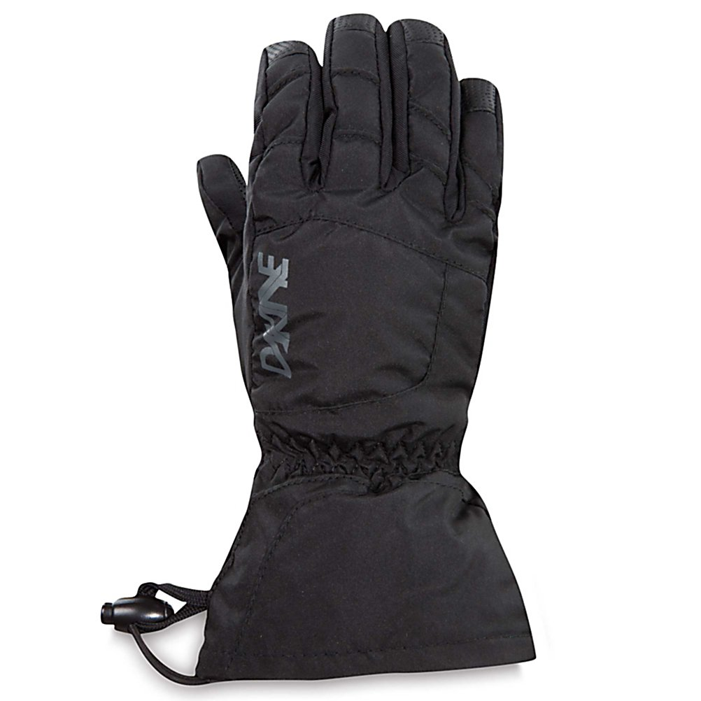 Ski Dakine Yukon Kids Ski Gloves - With a warmth index rating of 4, this pair of Yukon Junior Gloves from Dakine will keep your child's hands and fingers toasty warm throughout the day. Designed with 280g of synthetic thermoloft insulation that provides a really nice balance of comfort, warmth and durability while resisting moisture and retaining heat. There is a one hand cinch gauntlet cuff closure that is designed to keep out the un-wanted snow from getting in through the sleeves. The well designed weather shield nylon shell fabric has been treated with a durable water repellent (DWR) finish that acts as a barrier to moisture. The backside is also treated with another water resistant and breathable coating designed to regulate your child's climate control, by letting perspiration out while keeping moisture from penetrating inward. These coatings will keep the fingers and hands dry while providing the protection needed for all day skiing or boarding. If your child is a beginner the durathane palms are highly abrasion resistant and soft. This premium synthetic palm material has extreme durability, grip and waterproofing combined to hold up to the toll ropes and beyond. With the pre-curved finger construction the palm pattern has been designed to fit the hands in the relaxed position making it easy to grip your board, hold onto ski poles while also providing easy dexterity for your child to un-zip zippers, get into pockets easily all with comfort, style. performance and a great fit that allows for blood flow to - $25.00