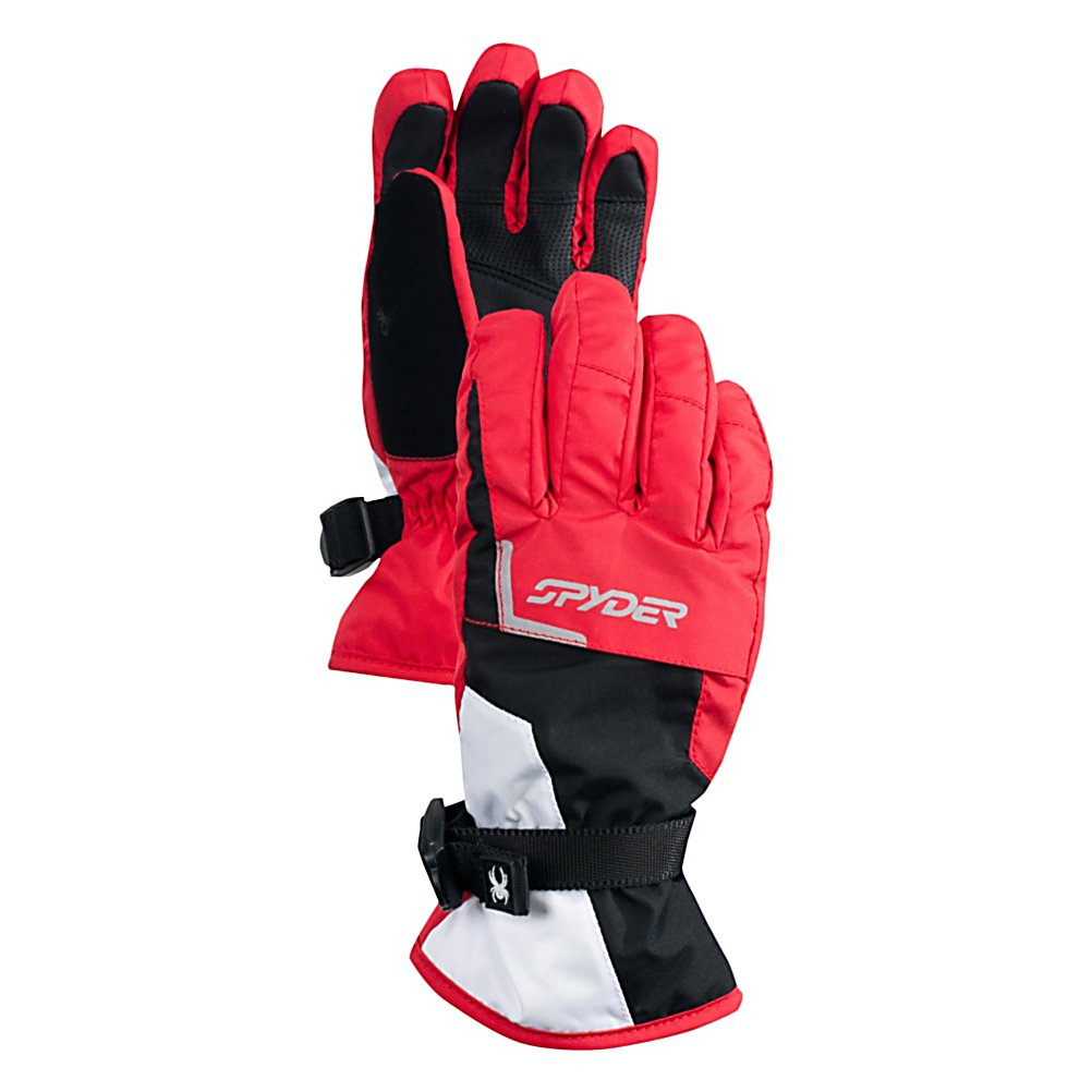 Ski Spyder Traverse Gore-Tex Ski Kids Gloves - The Spyder Traverse Gore-Tex Ski Gloves are warm and comfortable and will definitely keep your little ones hands feeling good when they are out on the mountain. Made with Gore-Tex, this technology ensures the best in waterproofness, breathability and windproof. They are guaranteed to keep your little ones hands dry no matter how much they are sweating out there. To help keep those hands toasty on the coldest of days is ThermaWeb Insulation which traps the heat inside the gloves. Your little feller will have relaxed hands because these gloves offer a pre-curved articulated fit and secure fit with the adjustable wrist straps. Colds hands are not fun but skiing is so next time your little one heads up to the mountain make sure they are wearing the Spyder Traverse Gore-Tex Ski Gloves. Features: Durable Synthetic Palm, 200g ThermaWeb Insulation. Removable Liner: No, Material: Mini Oxford Weave with Xt Coating and Spylon+ DWR, Warranty: Lifetime, Battery Heated: No, Race: No, Type: Glove, Use: Ski/Snowboard, Wristguards: No, Outer Material: Nylon, Waterproof: Yes, Breathable: Yes, Pipe Glove: No, Cuff Style: Over the cuff, Down Filled: No, Touch Screen Capable: No, Model Year: 2013, Product ID: 286187 - $55.00