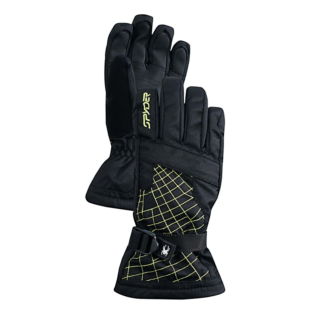 Ski Spyder Over Web Kids Gloves - For the serious skier looking for warmth, comfort and style, the Spyder Over Web Ski Gloves are a great fit for the young skier in the family. Insulated with ThermaWeb Insulation, your boy will have warm fingers and hands because this insulation traps the body heat inside. The XT Coating blocks the outside moisture from penetrating the glove however the pores are still large enough to allow interior moisture out. Bottom line: less sweaty palms and no cold moisture getting in. On those really frigid days there's a heater pack pocket that can be used for added warmth. With a Polyurethane Grip and pre-curved articulated fit, your son will easily be able to grip onto ski poles, chairlifts or anything he needs to while on the mountain. Slick and cool looking with stellar performance, the Spyder Over Web Ski Glove is a great choice for the ski season. Features: Micro-Bemberg Brushed Tricot Lining, Durable Synthetic Palm, ThermaWeb Insulation. Removable Liner: No, Material: Nylon Textured Oxford with Xt Coating and Spylon Water Repellent Finish, Warranty: Lifetime, Battery Heated: No, Race: No, Type: Glove, Use: Ski/Snowboard, Wristguards: No, Outer Material: Nylon, Waterproof: Yes, Breathable: Yes, Pipe Glove: No, Cuff Style: Over the cuff, Down Filled: No, Touch Screen Capable: No, Model Year: 2013, Product ID: 286199 - $45.00