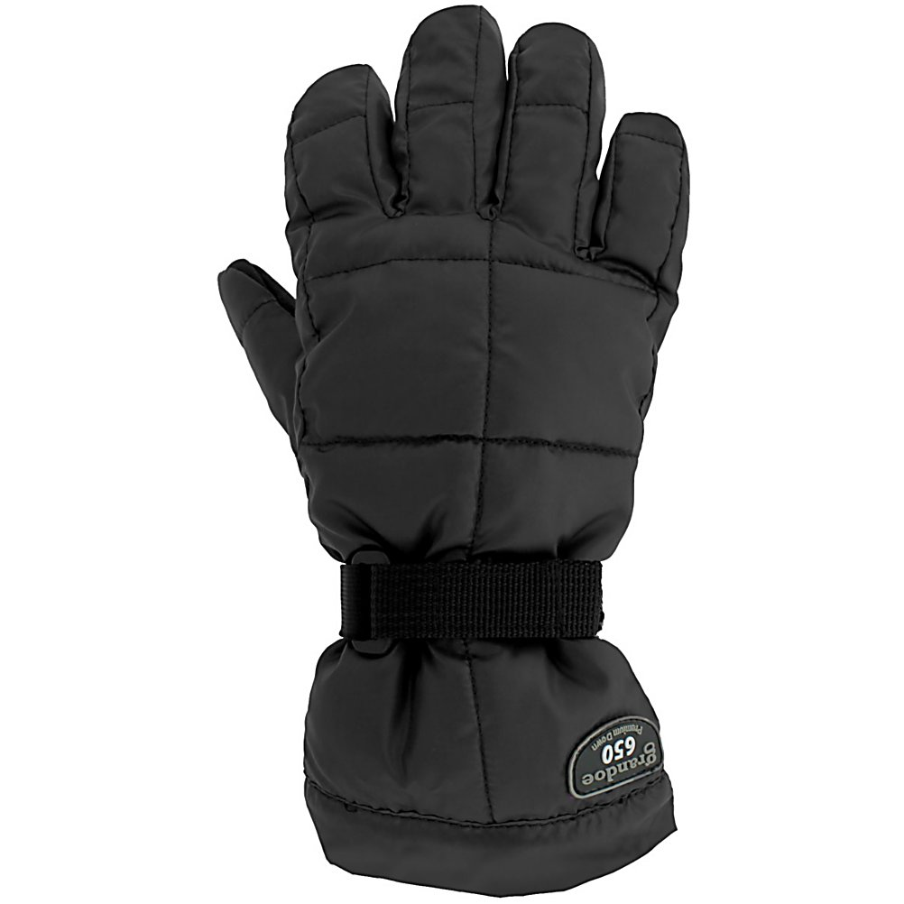 Ski Grandoe Mother Goose Kids Gloves - This Junior version of the Mother Goose features the same style and comfort as the original. The Grandoe Mother Goose Junior's soft style will keep hands warm and protected. The Pack Lite Poly shell gives the Mother Goose durability to withstand your grom's shenanigans. Vulcan Grip palm provide plenty of dexterity for ski poles or tweaked out grabs. Dri-Gard insert keeps the water out while allowing seat to escape. The result is bone dry hands. Natural Down and Fiberfill insulation helps prevent your grom from complaining about chilly hands. The Grandoe Mother Goose Jr is sure to please both you and your child. . Warranty: One Year, Battery Heated: No, Wristguards: No, Waterproof: Yes, Breathable: Yes, Cuff Style: Over the cuff, Touch Screen Capable: No, Model Year: 2013, Product ID: 289912, Down Filled: Yes, Pipe Glove: No, Outer Material: Nylon, Use: Ski/Snowboard, Type: Glove, Race: No, Material: Pack Lite Poly, Removable Liner: No - $29.99