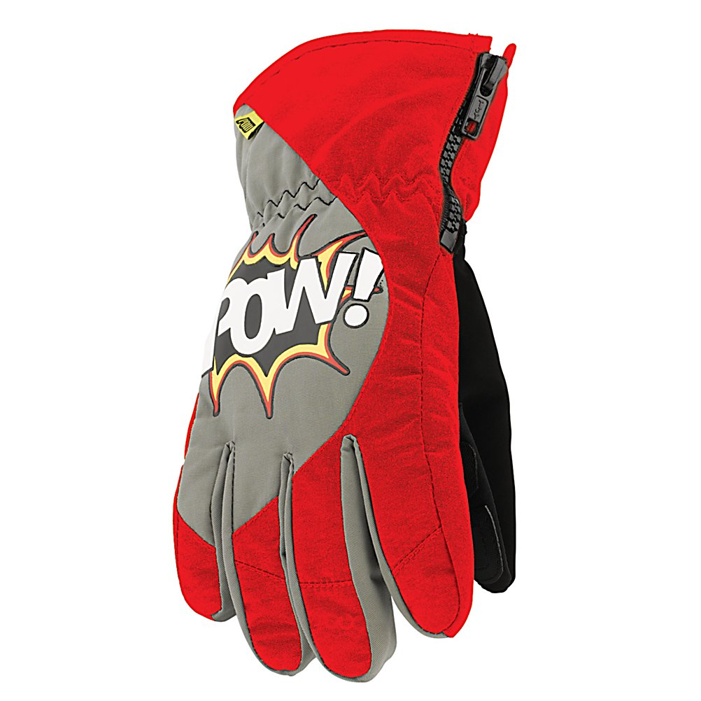Ski POW Grom Kids Ski Gloves - Every parent biggest concern with winter is, are there Childs hands going to be warm enough. Time to stop buying hand warmers and slip on the Pow Grom Glove. This glove is packed with warmth features that are going to feel like your holding onto a cup of hot coco all day. The shell of the Grom Glove is constructed with Sotina Nylon, which is a premium base DWR nylon material with waterproof and breathability properties of 20,000mm and 20,000g. Which as a result is going to keep your groms hands dry all day long while they play. 100g of Thinsulate insulation keeps there hands warm even in the coldest conditions. Let the Grom plays with the Pow Grom Glove. . Removable Liner: No, Material: Thinsulate, Warranty: One Year, Battery Heated: No, Race: No, Type: Glove, Use: Ski/Snowboard, Wristguards: No, Outer Material: Nylon, Waterproof: Yes, Breathable: Yes, Pipe Glove: No, Cuff Style: Over the cuff, Down Filled: No, Model Year: 2013, Product ID: 292645 - $19.91