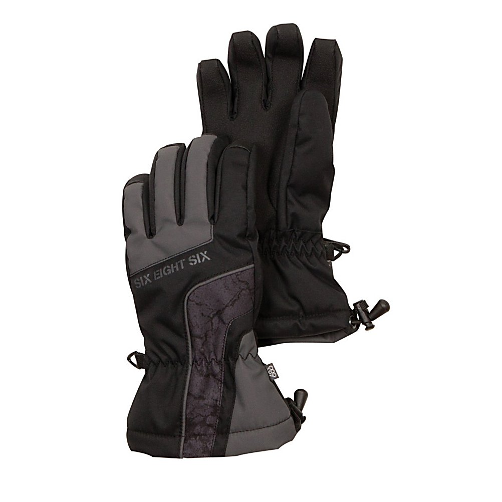 Snowboard 686 Cracked Insulated Kids Snowboard Gloves - The 686 Cracked Insulated Glove pulls together your complete Cracked Snowboard look. The Cracked Glove has awesome knuckle and palm fiberfill insulation with a short gauntlet cuff creating a warm and secure fit. The pre-curved full finger grip and soft grip anti-slip palm reinforcement allows you to grab and grip at your desire. . Removable Liner: No, Material: Nylon oxford, Warranty: Other, Battery Heated: No, Race: Often, Type: Glove, Use: Ski/Snowboard, Wristguards: No, Outer Material: Softshell, Waterproof: Yes, Breathable: Yes, Pipe Glove: No, Cuff Style: Under the cuff, Down Filled: No, Model Year: 2013, Product ID: 292548 - $30.00