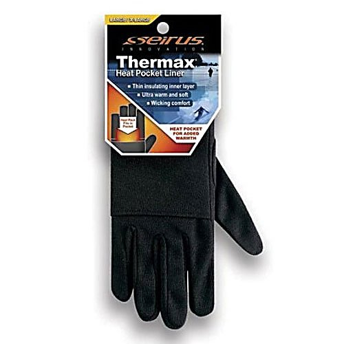 Ski Seirus Thermax Heat Pocket Unisex Glove Liners - Seirus Thermax Heat Pocket Glove Liners provide superior wicking action along with the heat retention properties of space age Lurex. Soft, warm and lightweight, Thermax Heat Pocket Glove Liners offer added insulation and heat pack technology to any glove. The pocket of the liner is able to hold heat packs so once you have your liner on and store in the heat pack, your glove will be warm and you'll be ready for anything winter has to throw at you. . Removable Liner: Yes, Material: THERMAX, Warranty: One Year, Battery Heated: No, Race: No, Type: Glove, Use: Liner, Wristguards: No, Outer Material: Nylon, Waterproof: No, Breathable: No, Pipe Glove: No, Cuff Style: Under the cuff, Down Filled: No, Model Year: 2013, Product ID: 147370 - $16.95
