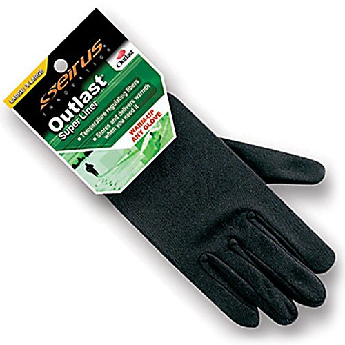 Ski Seirus Outlast Super Kids Glove Liners - A top seller for the Seirus brand, the Outlast Super Liner is great for extra warmth. Slip the Outlast Super Liner into your gloves and you will have extra protection and warmth from the cold. These liners are cut and sewn into form fitting construction. They are also made of Outlast temperature regulating technology to fight off those brisk temperatures. . Removable Liner: Yes, Material: Outlast Technology, Warranty: One Year, Battery Heated: No, Race: No, Type: Glove, Use: Liner, Wristguards: No, Outer Material: Acrylic, Waterproof: No, Breathable: No, Pipe Glove: No, Cuff Style: Under the cuff, Down Filled: No, Model Year: 2013, Product ID: 170771 - $19.95