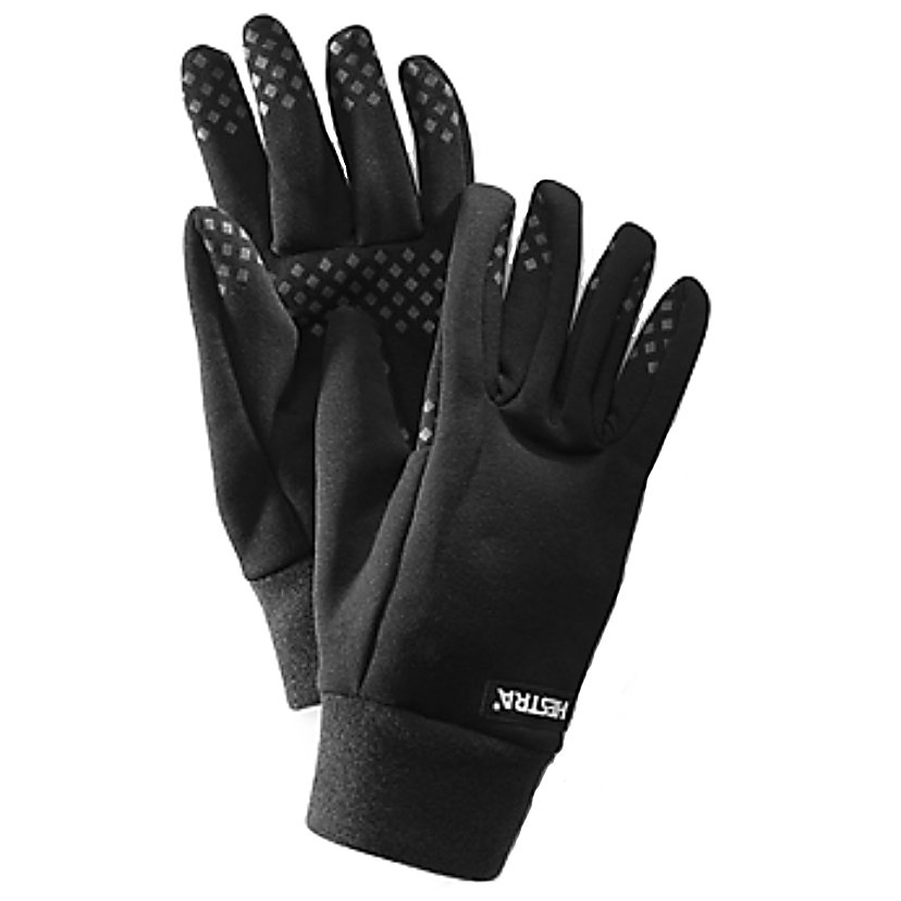 Ski Hestra Power Stretch Glove Liners - Hestra's Power Stretch Gloveliners are the perfect liner when you want that extra layer of protection. It's frigid out there and you want to get something from your jacket or put on a different hat? No need to put your bare hands into the cold air, with there Power Stretch Gloveliners you'll have the freedom to warm up your hands if you need to or take them off and place them in a pocket if the temps ascend. Featuring a grip coating on the palm, whether you pull out a cell phone or Chap Stick, you'll have the added benefit of not having these items slip out of your hands an into the snow. . Removable Liner: No, Material: Power Stretch, Warranty: Lifetime, Battery Heated: No, Race: No, Type: Glove, Use: Liner, Wristguards: No, Outer Material: Nylon, Waterproof: No, Breathable: No, Pipe Glove: No, Cuff Style: Under the cuff, Down Filled: No, Touch Screen Capable: No, Model Year: 2013, Product ID: 250803 - $45.00