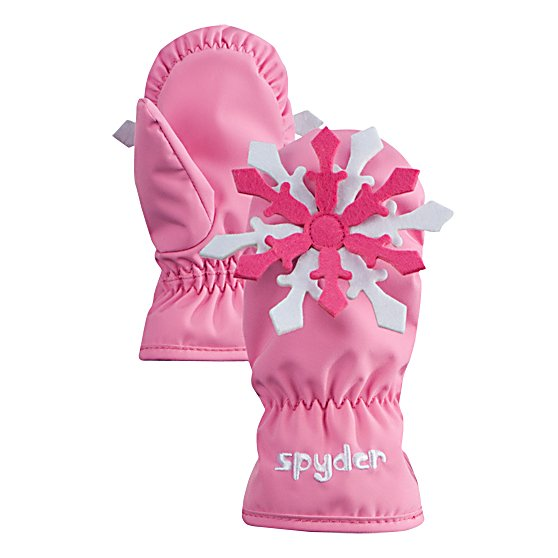 Ski Spyder Bitsy Motif Toddlers Mittens - The Spyder Bitsy Motif Mittens are very warm and super cute for any young girl learning skiing or wanting to wear a fun pair of mittens to school. They are equipped with ThermaWeb Insulation which works by trapping the heat inside the mitten. With its 10k breathability rating, these mittens will help evaporate the moisture and sweat from the mittens and push them outwards while the waterproof coating prevents any snow from seeping inside. There's a Velcro Opening which makes putting these Spyder Bitsy Motif Mittens on and taking them off very easy. . Removable Liner: No, Material: Stretch Polyester Plain Weave, Warranty: Lifetime, Battery Heated: No, Race: No, Type: Mitten, Use: Ski/Snowboard, Wristguards: No, Outer Material: Nylon, Waterproof: Yes, Breathable: Yes, Pipe Glove: No, Cuff Style: Under the cuff, Down Filled: No, Model Year: 2013, Product ID: 286833 - $35.00