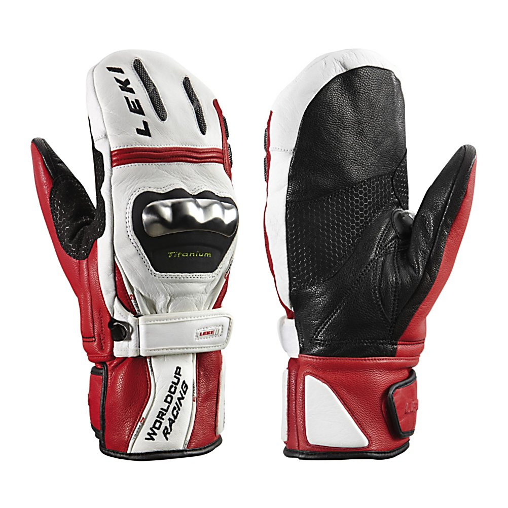 Ski Leki World Cup Racing Titanium S Ski Racing Mittens - A highly superior system for only the most serious racers is what you get in the Leki World Cup Racing Titanium S Mittens. The mittens feature unmatched comfort, security and ease of use with Lekis patented Trigger S glove/pole integration system. The mittens are made up of a hydrophobic cowhide and goatskin leathers to keep your hands nice and dry and repel water almost instantly upon contact. Those materials also make these mittens highly durable for multiple seasons of use. The Titanium S mittens also have a Micro Bemberg Thinsulate and Carol fleece liner for comfort and most importantly to keep your hands toasty warm. Leki has added Titanal protectors to the knuckles to give you the most protection possible from the gates. . GTIN: 4028173245635, Model Number: 633 80193 085, Product ID: 197767, Model Year: 2014, Bearing Grade: Performance, Touch Screen Capable: No, Category: Race, Down Filled: No, Cuff Style: Over the cuff, Pipe Glove: No, Breathable: Yes, Waterproof: Yes, Outer Material: Leather, Wristguards: Yes, Use: Ski/Snowboard, Type: Mitten, Race: Yes, Battery Heated: No, Warranty: One Year, Material: Goatskin, Removable Liner: No - $164.95