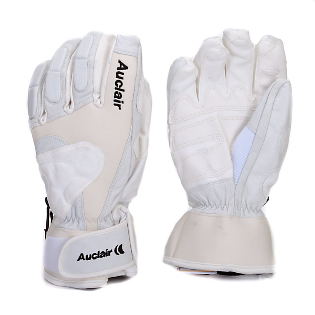 Ski Auclair Torino Racer Ski Racing Gloves - Designed for high end performance the Auclair Torino Racer Gloves are great for any weather conditions. These gloves were designed for racers and have padding on three fingers to keep them protected when you are running gates. The Torino Racer gloves are made with a Goatskin lycra shell that features the waterproof and breathable AquaStop insert that will keep your hands warm, dry and comfortable. Adding to the warmth factor is 150 grams of Thinsulate insulation and the polyfleece lining will keep your hands warm and comfortable in the Auclair Torino Racer Gloves. Features: Neoprene Cuff, Impact Pads in 3 Fingers. Material: Goatskin/Lycra, Warranty: Lifetime, Battery Heated: No, Model Year: 2012, Product ID: 285608, Down Filled: No, Cuff Style: Under the cuff, Pipe Glove: No, Breathable: Yes, Waterproof: Yes, Outer Material: Leather, Wristguards: No, Use: Ski/Snowboard, Type: Glove, Race: Yes, Removable Liner: No - $49.95