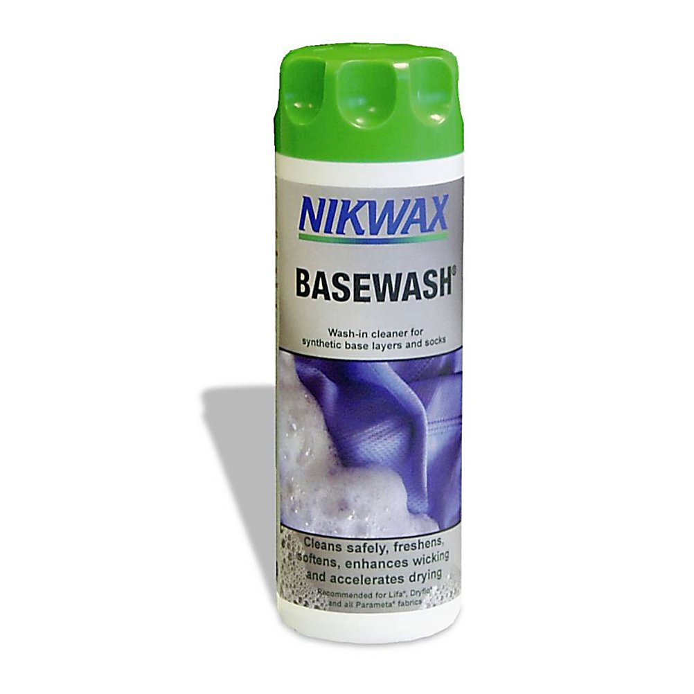 Ski The Nikwax Base Wash has been designed to clean your synthetic base layers, socks and travel clothing.  This cleaner will remove odor and refresh your clothing, it is easy to use and can be used in a washing machine.  The Nikwax Base Wash will help the fabric spread sweat and will dry quickly to keep you comfortable in all conditions.   Nikwax is a global leader in safe, high performance waterproofing, cleaning and condition for outdoor gear. Nikwax aftercare products have been PFC free since 1977 (founding date).   Water Based - environmentally friendly, biodegradable, non-flammable, non hazardous, does not contain fluorocarbons,  Use with synthetic base layers, socks, travel clothing,  Base Wash refreshes and removes odors,  Enhances and revitalizes wicking properties,  Helps fabric to spread sweat and dry quickly, keeping you more comfortable in all conditions,  Increases breathability,  Easy to use - can be applied in a washing machine,  Model Year: 2017, Product ID: 256456, Model Number: 141 10OZ, GTIN: 0703861002663 - $12.00