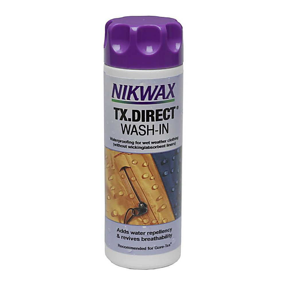 Ski The Nikwax TX Direct will help restore the waterproof/breathable performance in technical shell jackets or pants and other outerwear items.  This is an easy way to take care of your wet weather gear.  It is a wash-in treatment that will help restore water repellency and seal the micro cracks.  This bottle is also environmentally friendly.   Nikwax is a global leader in safe, high performance waterproofing, cleaning and condition for outdoor gear. Nikwax aftercare products have been PFC free since 1977 (founding date).   Restores waterproof/breathable performance in technical outerwear ,  Tested safe for GORE-TEX Ultrex, Entrant and other waterproof breathable fabrics ,  Environmentally-friendly formula ,  PFC Free,  Model Year: 2017, Product ID: 256459, Model Number: 251 10OZ, GTIN: 0703861001017 - $15.00