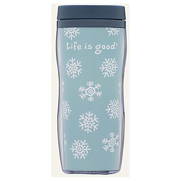 Ski Life Is Good Acrylic Snowflake Travel Mug - Are you looking for a Travel Mug that will hold any type of beverage? This Acrylic Life is Good Mug has a fashionable snowflake design. On the inside the liner is colorful and decorated. You will enjoy this lightweight and durable mug to take along anywhere! . Model Year: 2013, Product ID: 269575 - $20.00