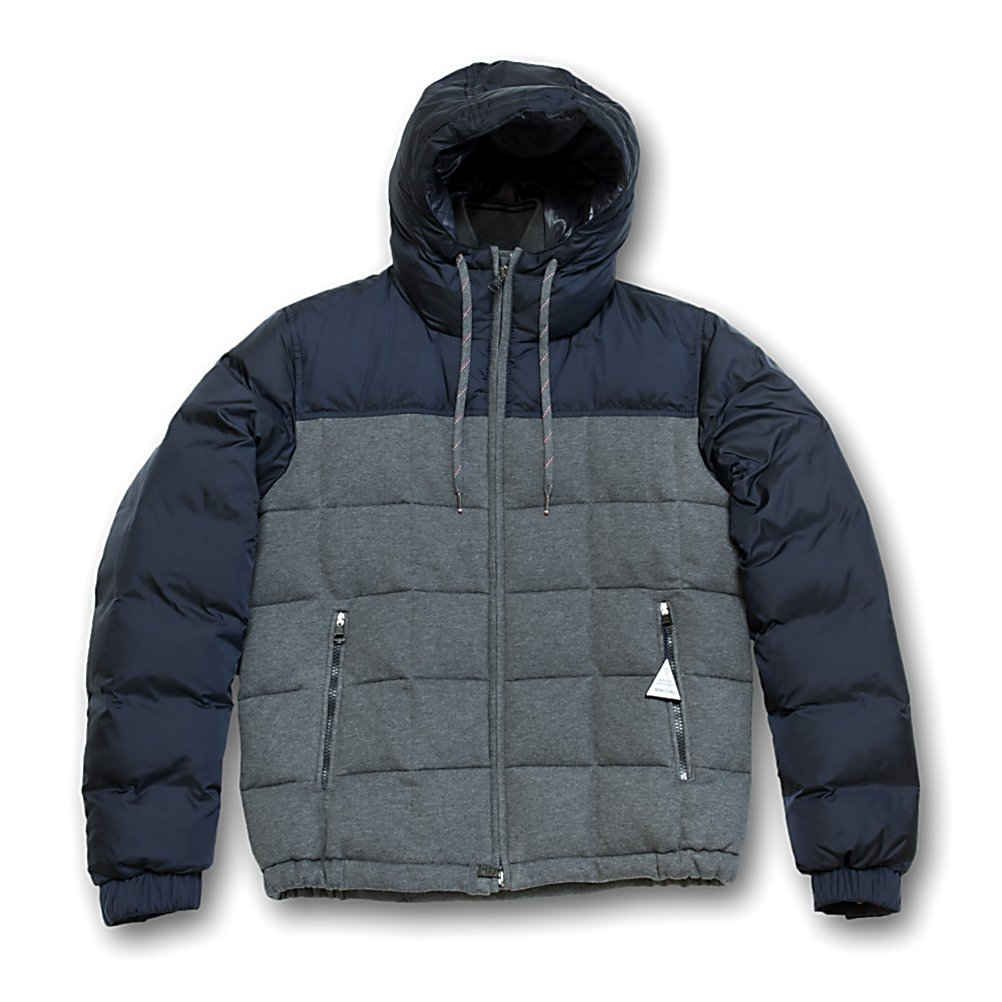 Ski Moncler Antoine Mens Jacket - The Moncler Antoine jacket for men offers a nylon hood with a striped inset ribbed collar, that tops a quilted down cotton jacket. The Antoine is comprised of a two-tone jersey front with fully-insulated nylon sleeves and back. Having a trim fit that brings on shape without bulk, allowing you to be embraced in complete warmth and comfort. The Antoine jacket will become your favorite - quick throw on - jacket, step out looking sharp, original and warm for any casual cold weather outdoor event. . Exterior Material: Nylon, Taped Seams: Critically Taped, Pockets: 1-3, Hood: Yes, Warranty: Other, Use: Outdoor, Battery Heated: No, Race: No, Type: Insulated, Cut: Slim, Length: Short, Insulation Type: Down, Cuff Type: Elastic, Model Year: 2013, Product ID: 286620 - $649.92