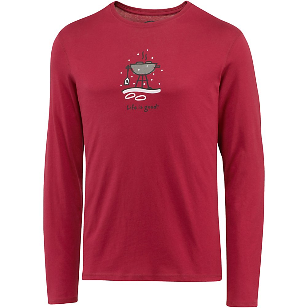 Camp and Hike Life Is Good Sleep Long Sleeve Winter Grill Shirt - The Life is Good Sleep Long Sleeve Winter Grill T-Shirt is one of the greatest wintertime shirts that you can wear to sleep. It's super comfortable with its 100% Cotton fabric and semi-fitted style. You'll never want to get out of bed when you wear one of these shirts and you'll be so comfy you'll sleep past noon on a Saturday. . Model Year: 2013, Product ID: 269471, Water Resistant: No, Type: Long Sleeve, Wicking Properties: No, Pockets: None, Material: Cotton, Type: Tees, Wind Protection: No, Type: Crew/Mock Top, Battery Heated: No, Warranty: Lifetime, Hood: No, Category: Light-Weight, Fleece Weight: None, Material: 100% Cotton, Hood Type: None - $35.00