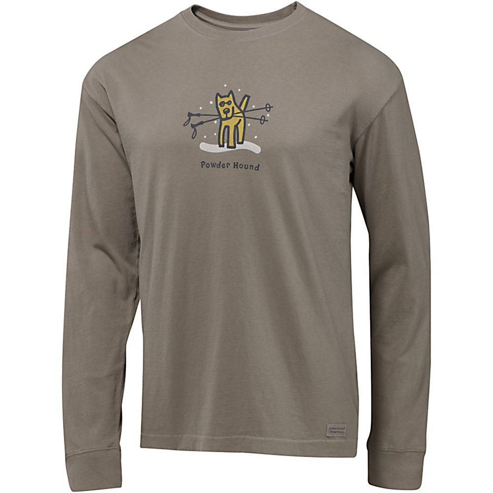 Ski Life Is Good Crusher Long Sleeve Powder Hound Shirt - The Life is Good Crusher Long Sleeve Powder Hound T-Shirt has a great fit and feels good. Made with 100% Cotton, you'll love the how comfy this tee is and you will want to wear it all year round. To provide a better fit as well as comfort, you'll have a ribbed cuff with spandex. Durable and very soft as well as boasting the vintage weathered look, the Life is Good Crusher Long Sleeve Powder Hound T-Shirt is comfortable, warm and has one really cool graphic for you to show off. . Hood Type: None, Material: 100% Cotton, Fleece Weight: None, Category: Light-Weight, Hood: No, Warranty: Lifetime, Battery Heated: No, Type: Crew/Mock Top, Wind Protection: No, Type: Tees, Material: Cotton, Pockets: None, Wicking Properties: No, Type: Long Sleeve, Water Resistant: No, Model Year: 2013, Product ID: 269497 - $23.91