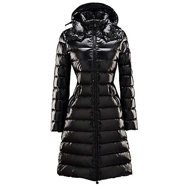 Ski Moncler Moka Womens Jacket - The Moncler Moka Down Jacket is a long puffer coat that reeks style, warmth, quality and is in high demand of someone with fine taste. With a removable drawstring hood that attaches to the coat with press studs and a stand up collar with two press studs leading into a zip fastening front offers great detail. The Moka Jacket will have you looking long and sleek as you walk with such security and confidence. While styling in the best you will also be so warm and comfy. The Moka Classic knee length coat with detachable hood in Nylon Laque - giving you extra warmth in a flattering shape. Having shape slash pockets, contrast zipper, water resistant material and being able to machine wash completes this down jacket making it beautiful and easy to wear. . Exterior Material: Polyamide Polyurethane, Softshell: No, Insulation Weight: N/A, Taped Seams: Fully Taped, Waterproof Rating: N/A, Breathability Rating: N/A, Pit Zip Venting: No, Pockets: 1-3, Goggle/Sunglasses Pocket: No, Powder Skirt: No, Hood: Yes, Warranty: Other, Use: Street, Battery Heated: No, Race: No, Rain Jacket: No, Type: Insulated, Cut: Regular, Length: Long, Tall: No, Insulation Type: Down, Waterproof: Not Specified, Breathability: Not Specified, Cuff Type: None, Wrist Gaiter: No, Waterproof Zippers: Yes, Wind Protection: No, Model Year: 2014, Product ID: 240000 - $1,095.00