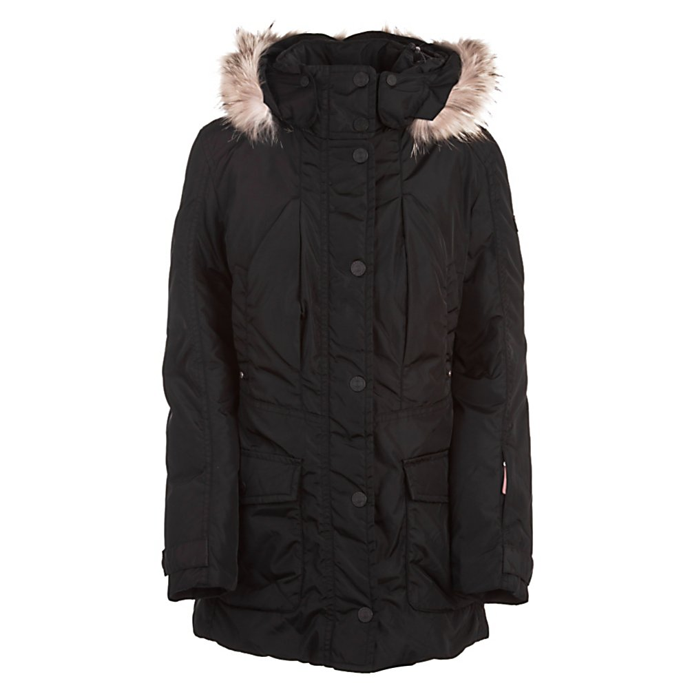 Ski Bogner Fire + Ice Tamy-DP Womens Jacket - The Bogner Fire and Ice Tamy-DP Down Womens Jacket is the unique combination of high-quality, innovative fabrics and functional perfection with class and sophistication. Ergonomic cuts and strong colors are used and characterized by clear lines. Signature logo patches, emblems, and embroidery stand out for added attraction. Individual style and the exciting design create a youthful look. The Tamy by Fire and Ice is a masterpiece in modern casual style and relaxation combined with function which sums up the perfection of what Bogner puts out . The padded hood is removable and has a naturally colored fur trim made from raccoon. Practical pockets and ergonomically shaped sleeves are typical and the warmth of down pull it all together, maximizing the wearing comfort and amazing look. . Exterior Material: Nylon, Insulation Weight: 600 Fill Down and Feathers, Taped Seams: Fully Taped, Waterproof Rating: N/A, Breathability Rating: N/A, Pit Zip Venting: No, Pockets: 4-5, Electronics Pocket: No, Goggle/Sunglasses Pocket: No, Powder Skirt: No, Bearing Grade: High Performance, Hood: Yes, Warranty: Lifetime, Use: Outdoor, Battery Heated: No, Race: No, Type: Insulated, Cut: Slim, Length: Long, Insulation Type: Down, Waterproof: Not Specified, Breathability: Not Specified, Cuff Type: Velcro, Wrist Gaiter: No, Waterproof Zippers: Yes, Wind Protection: No, Cinch Cord Bottom: Yes, Insulator: No, Model Year: 2012, Product ID: 266057, Model Number: 3488 026 4, GTIN: 4049384518806 - $349.91